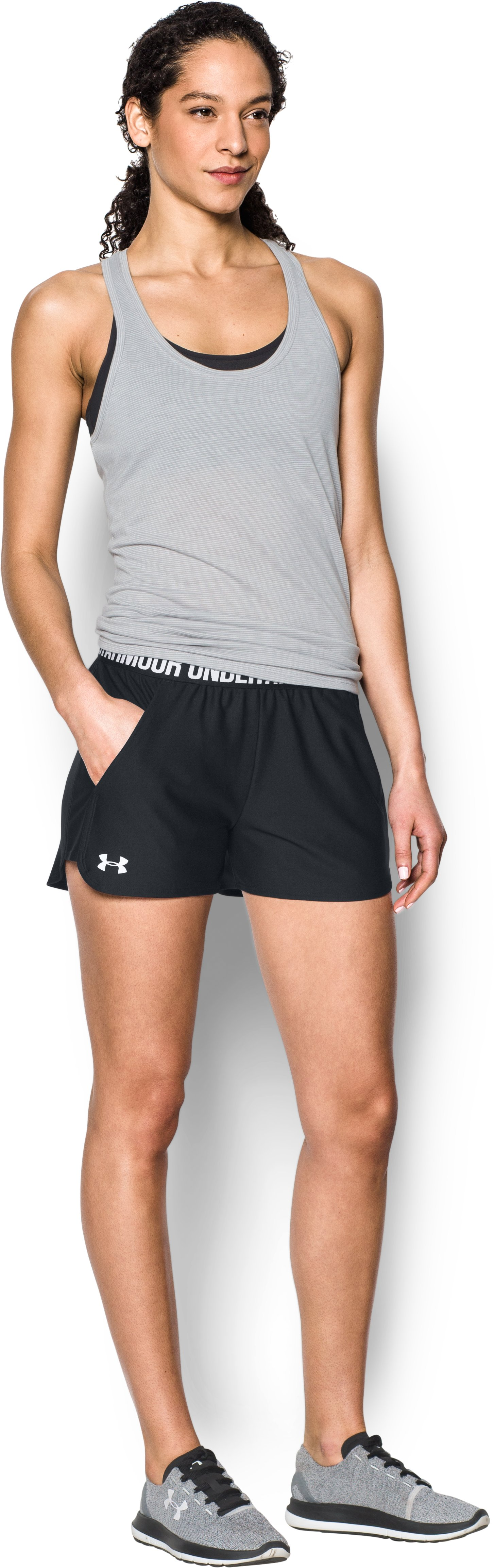 Women's UA Play Up 2.0 Shorts, Black , Front