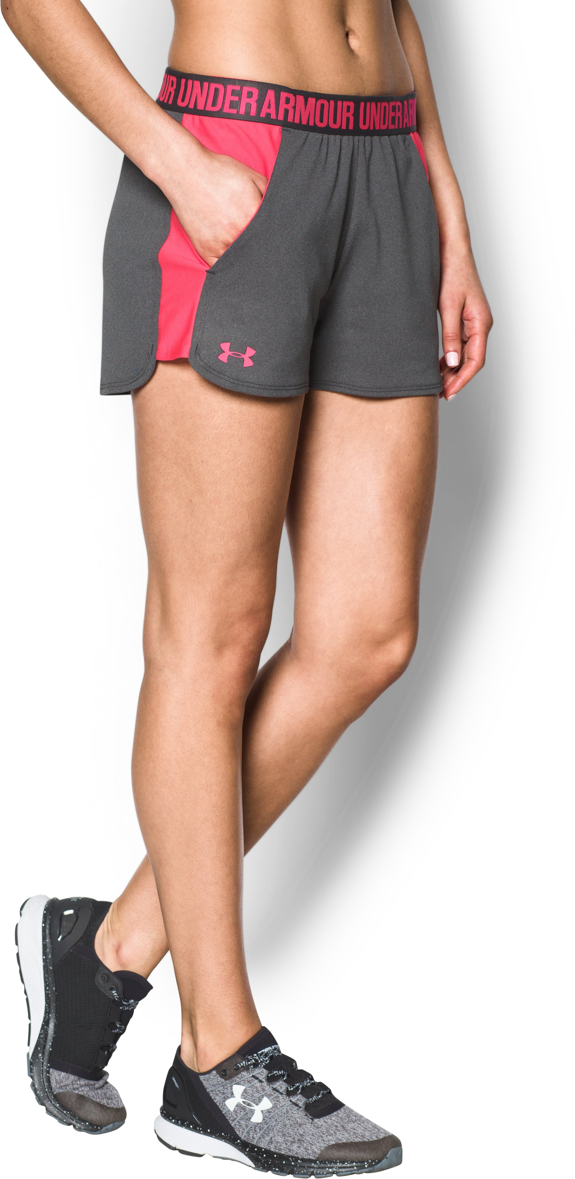 Women's UA Play Up 2.0 Shorts, Carbon Heather, undefined