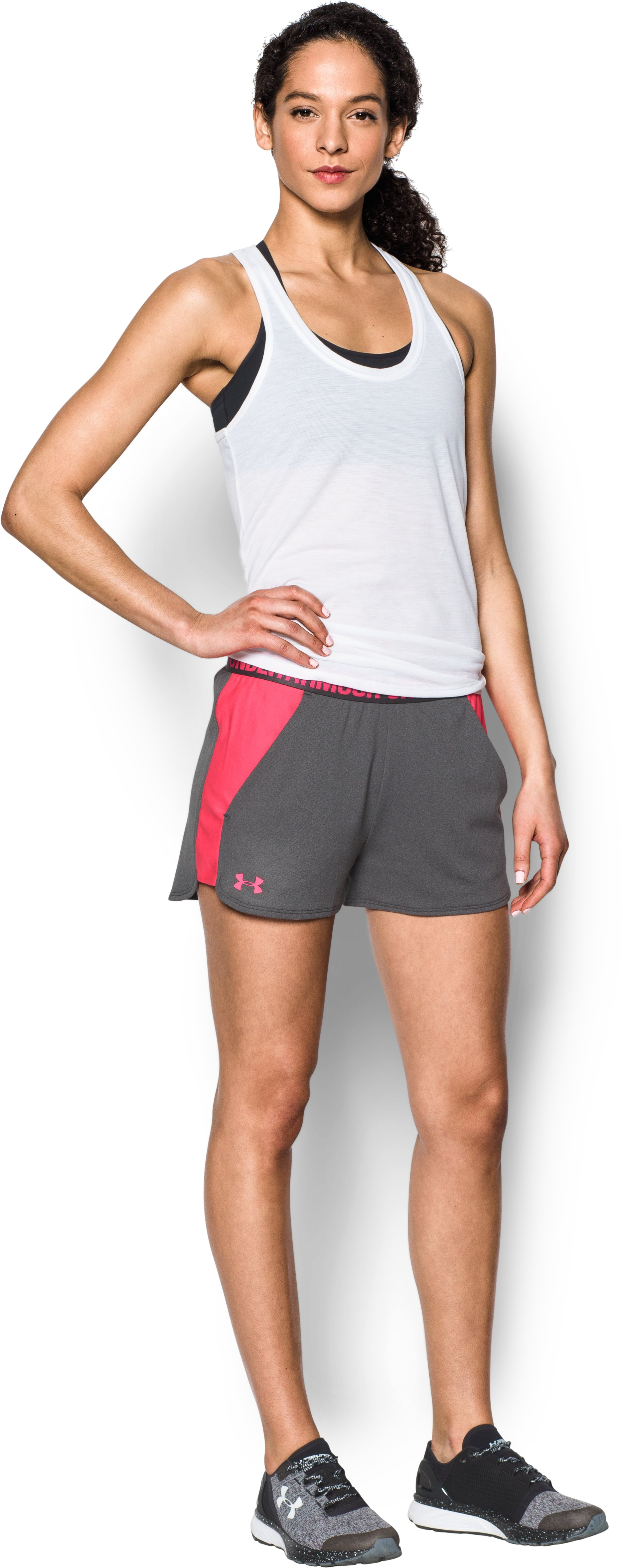 Women's UA Play Up 2.0 Shorts, Carbon Heather, Front