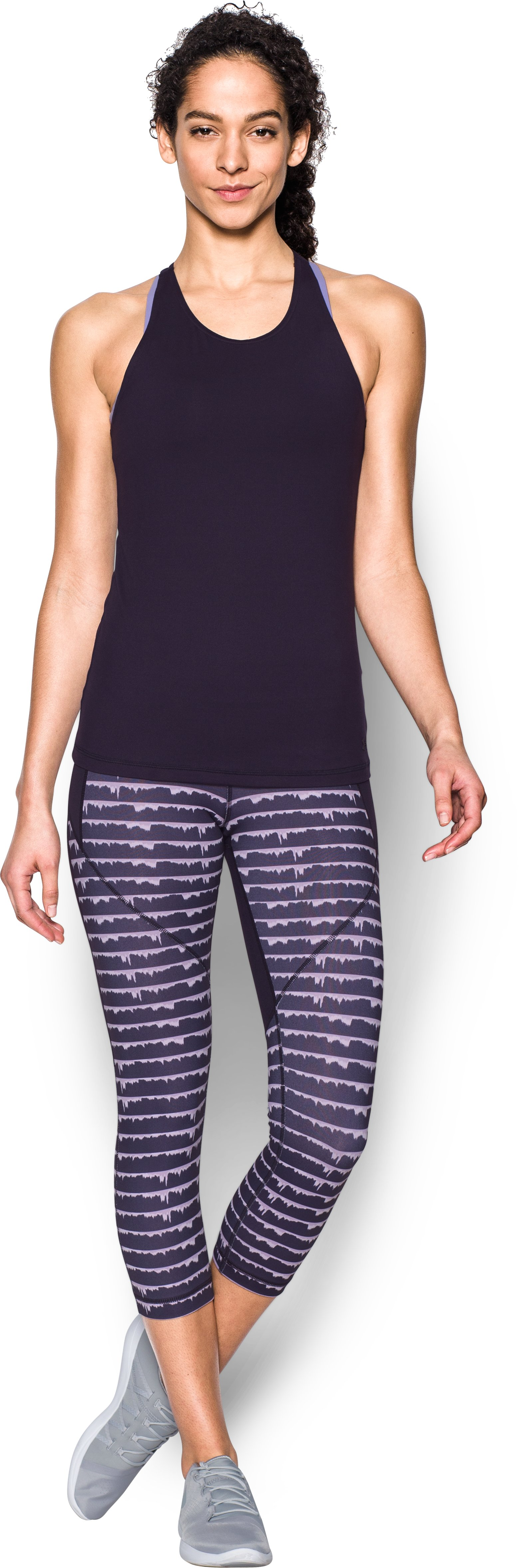 Women's UA Mirror Printed Crop, IMPERIAL PURPLE, Front