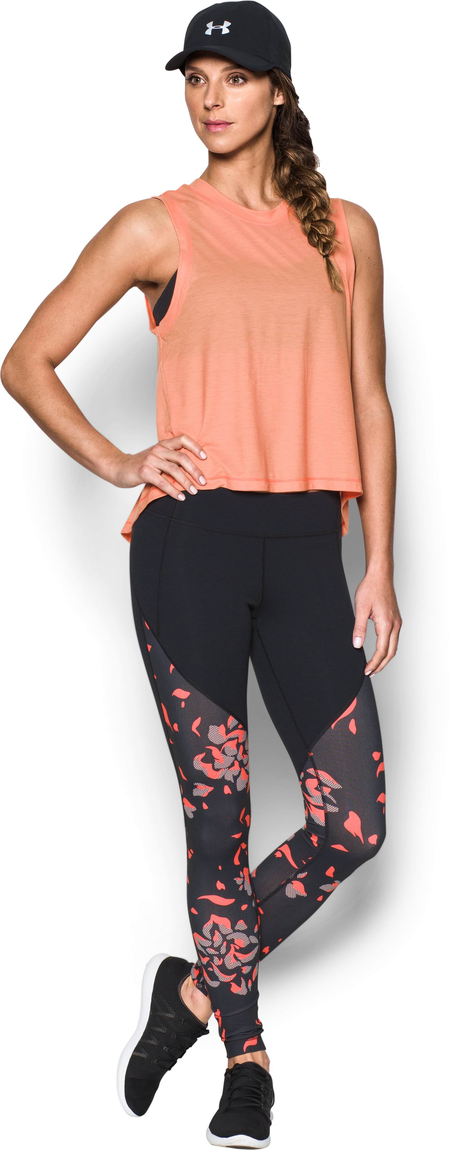 Women's UA Mirror Color Block Print Legging, Black , Front