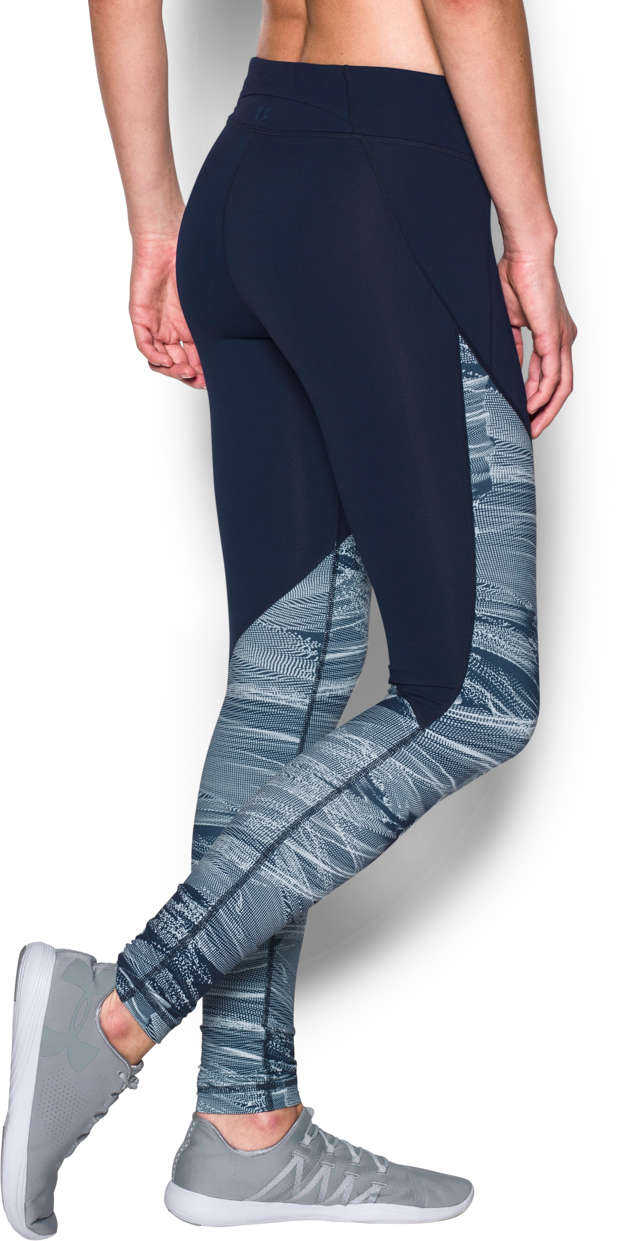 Women's UA Mirror Color Block Print Legging, Midnight Navy,