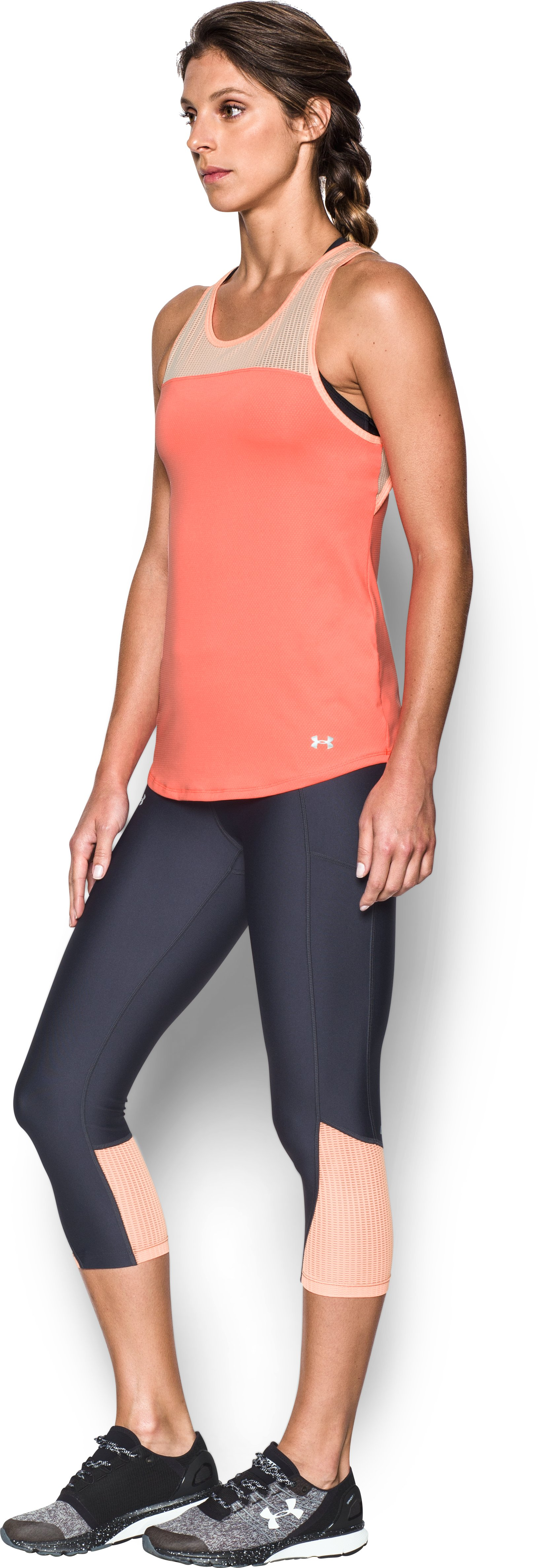 Women's UA Fly-By Fitted Tank, LONDON ORANGE, undefined