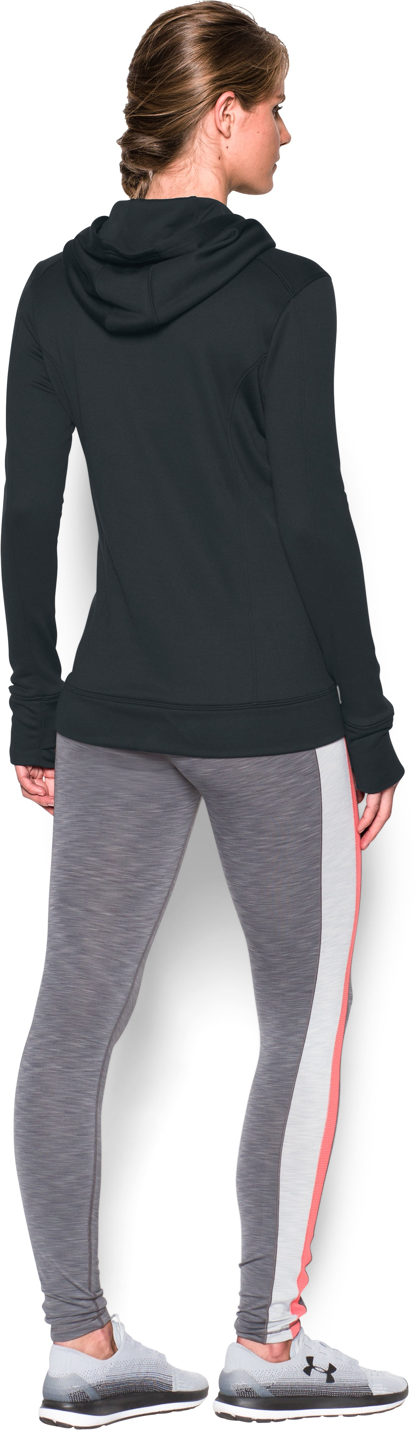 Women's UA Featherweight Fleece 1/2 Zip, Black , Back