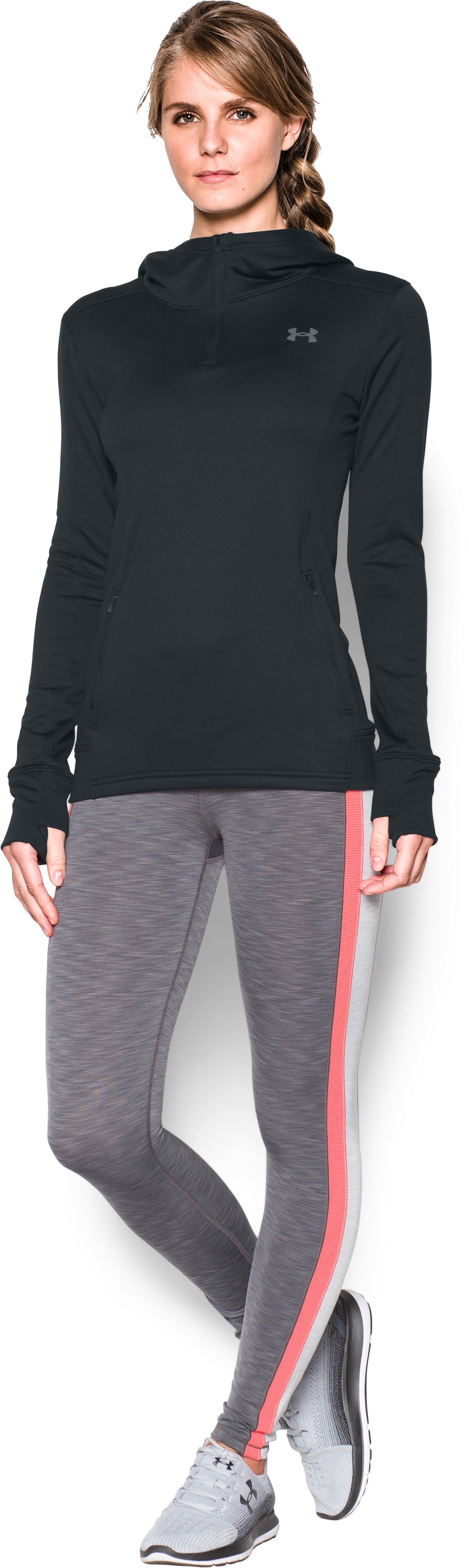 Women's UA Featherweight Fleece 1/2 Zip, Black , Front