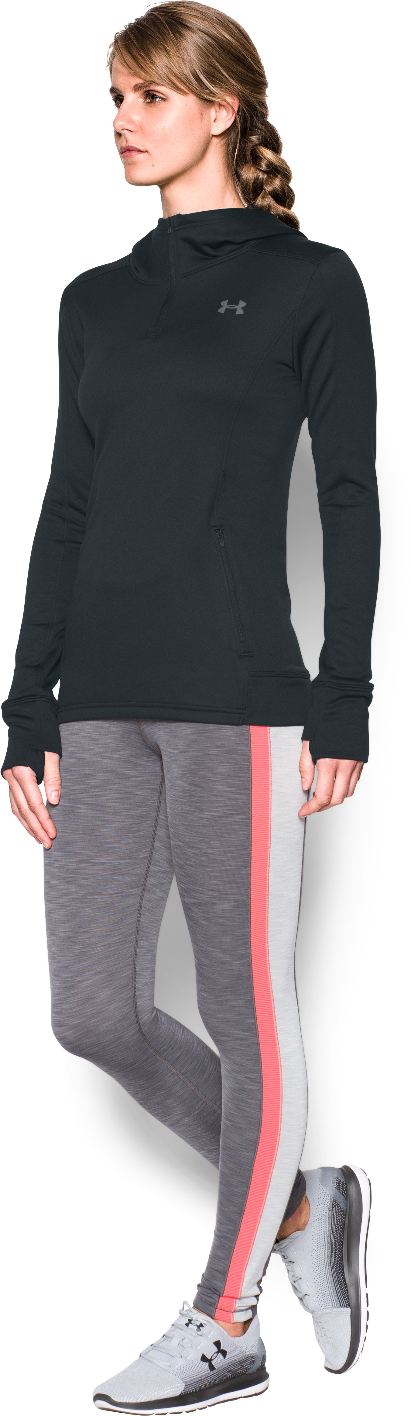 Women's UA Featherweight Fleece 1/2 Zip, Black , undefined