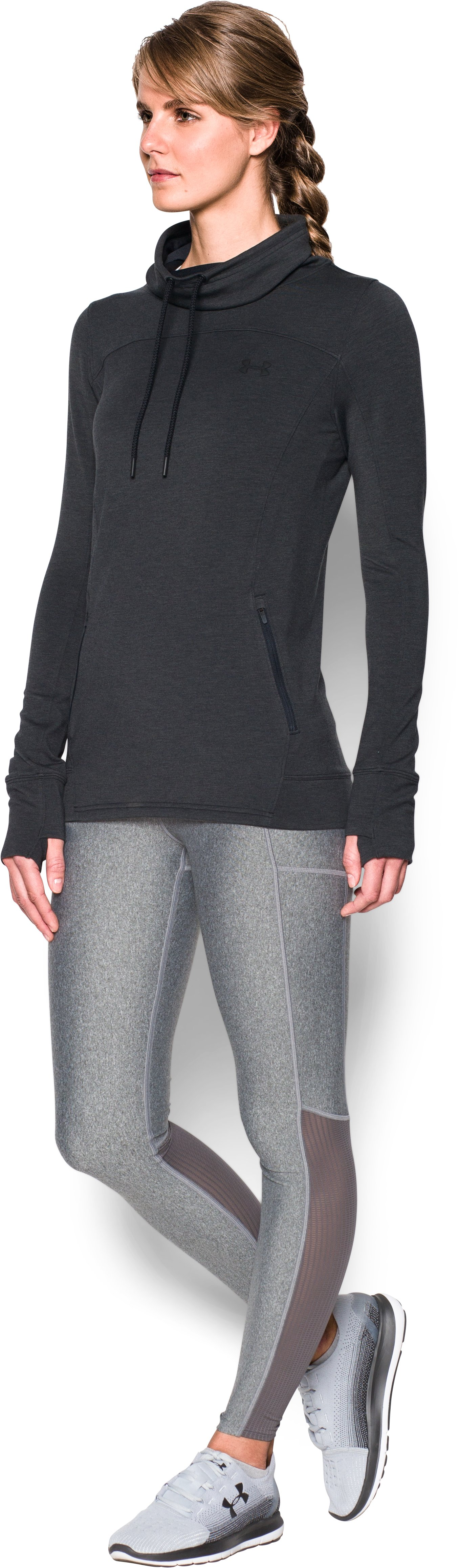 Women's UA Featherweight Fleece Slouchy Popover, Black ,