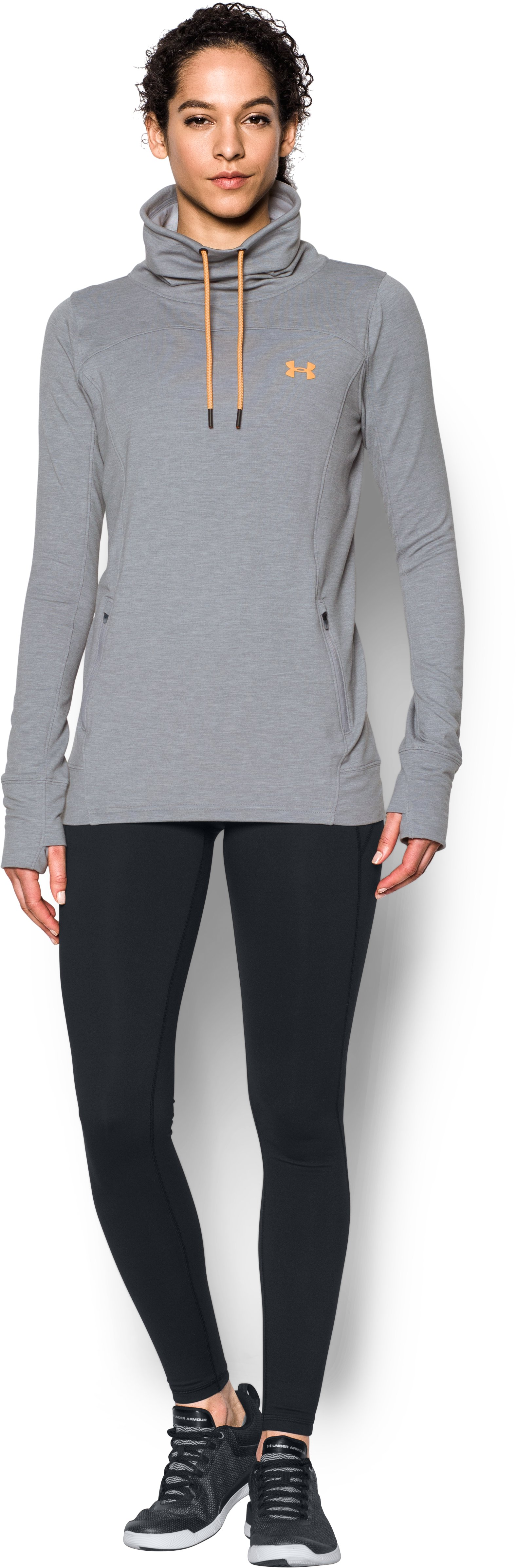 Women's UA Featherweight Fleece Slouchy Popover, True Gray Heather, Front
