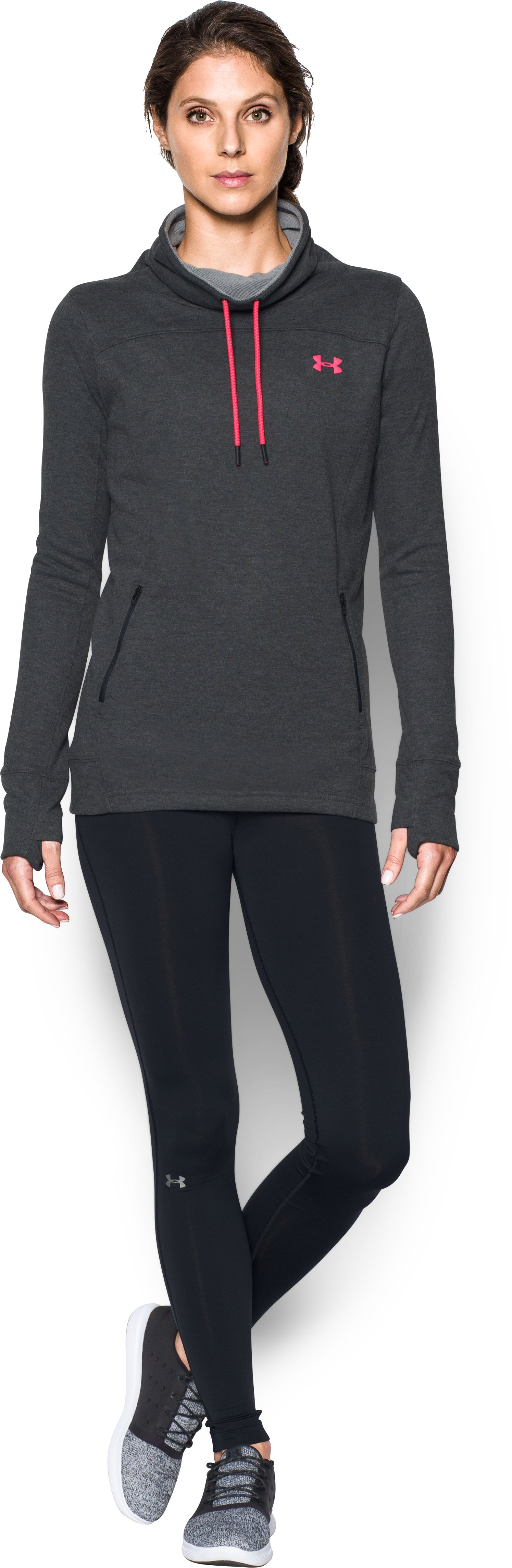 Women's UA Featherweight Fleece Slouchy Popover, Carbon Heather