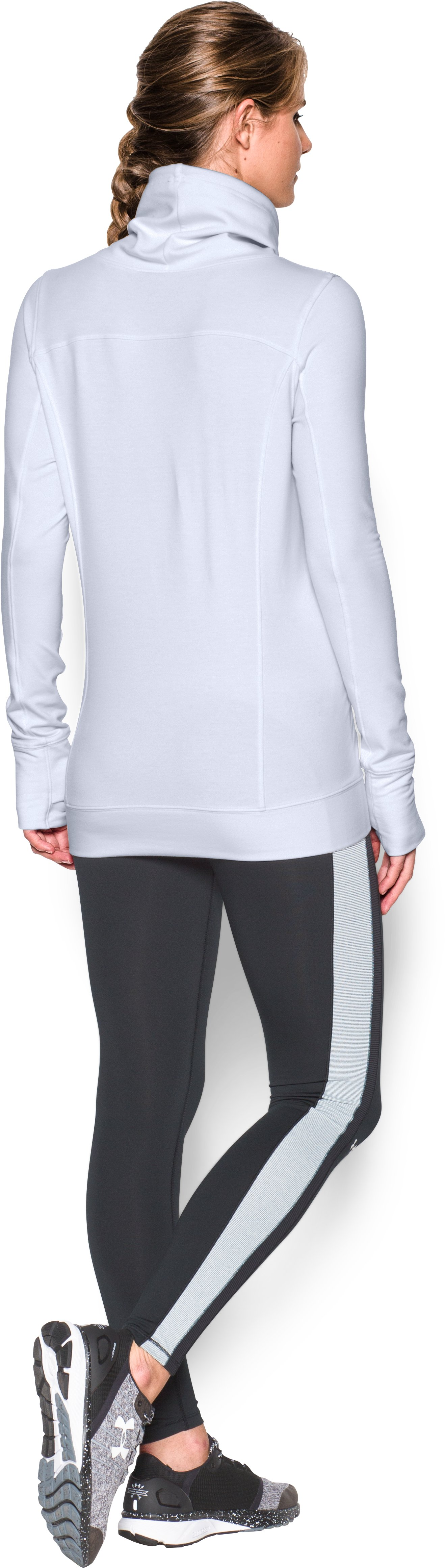 Women's UA Featherweight Fleece Slouchy Popover, White, Back
