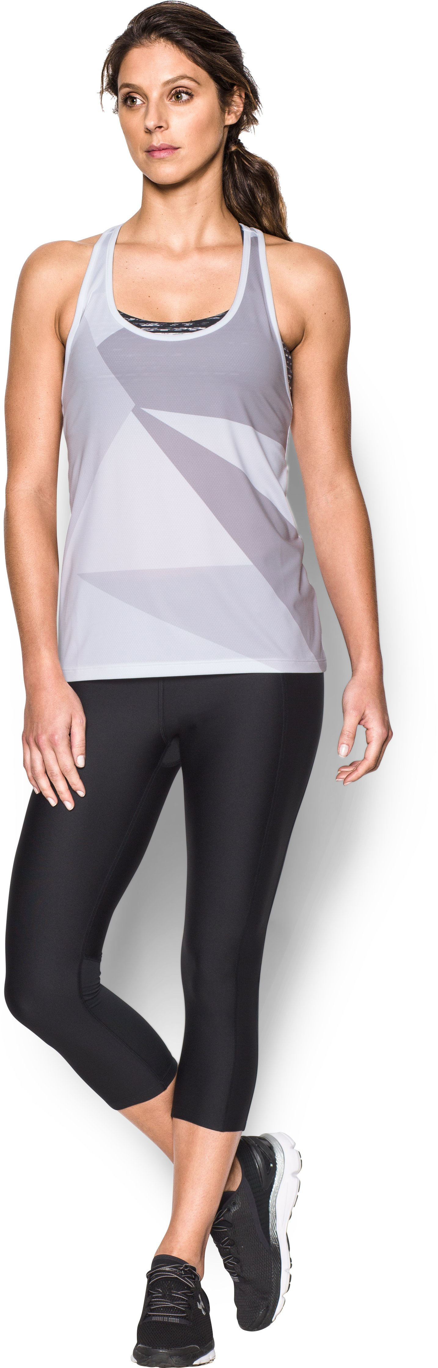 Women's UA Geo Run Tank, White, Front