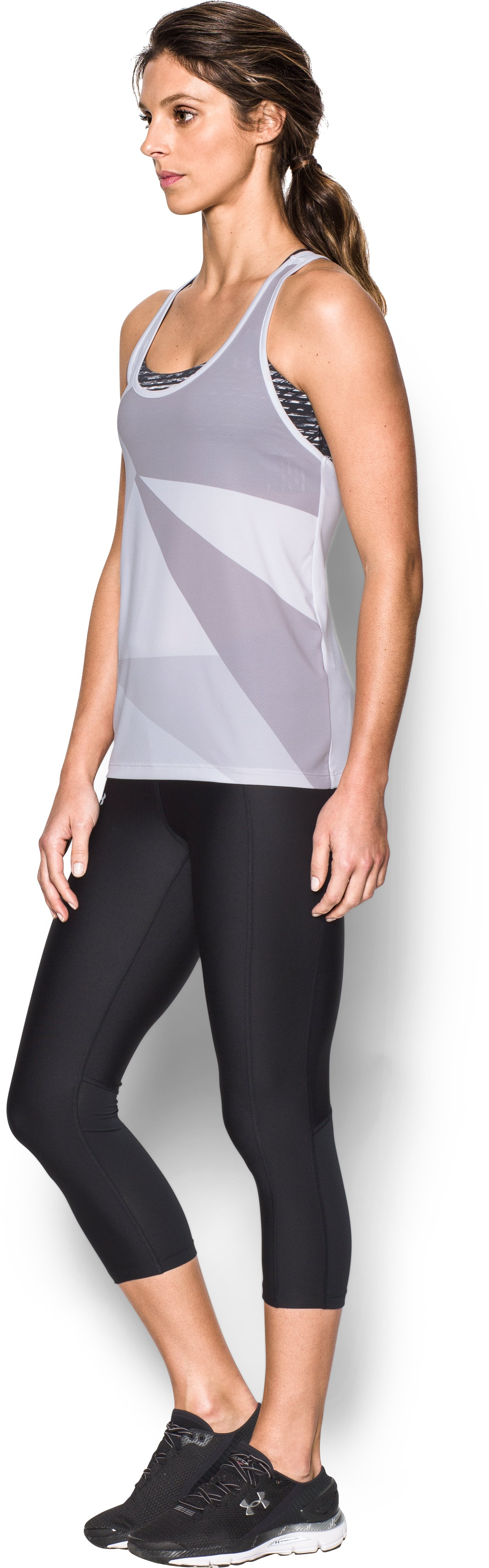 Women's UA Geo Run Tank, White,