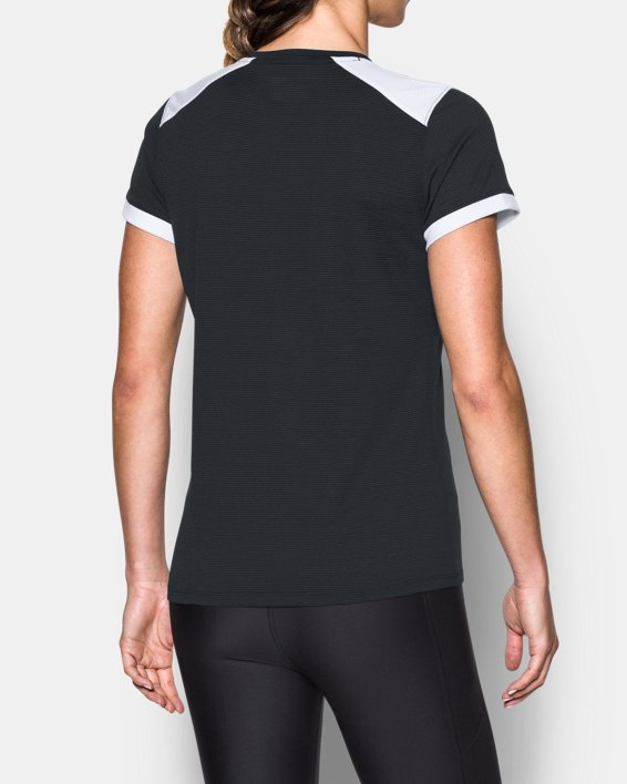 Women's UA Microthread Match Jersey, Black, pdpMainDesktop image number 2