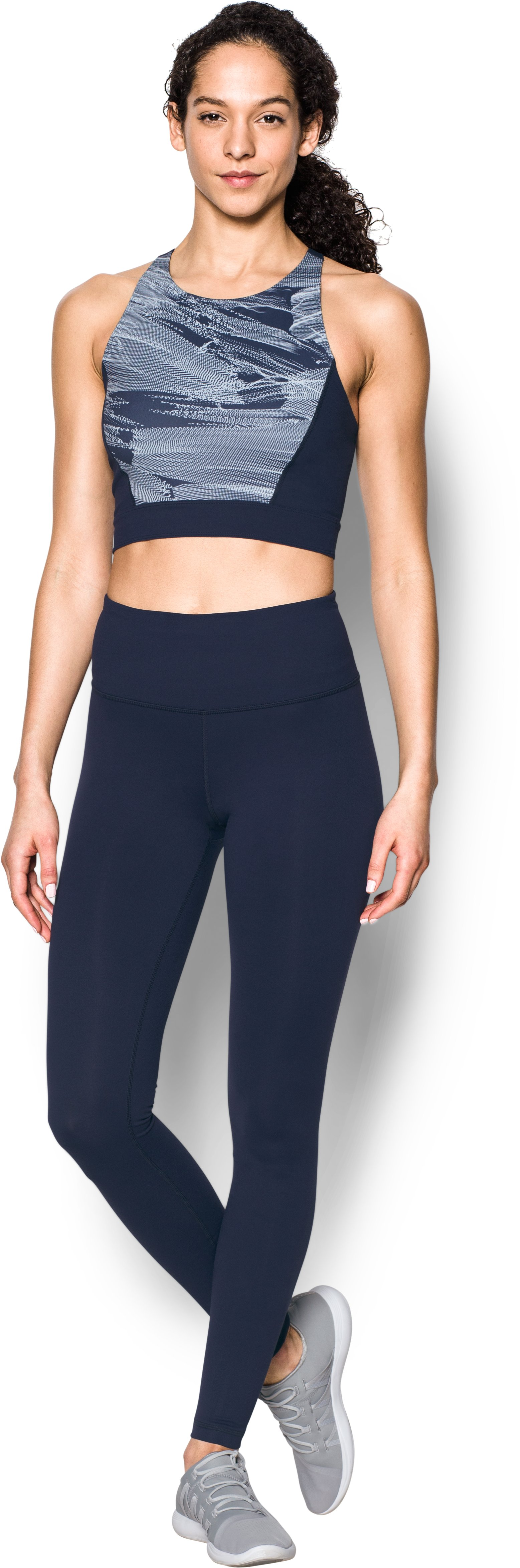 Women's UA Mirror Printed Crop Top, Midnight Navy, zoomed image