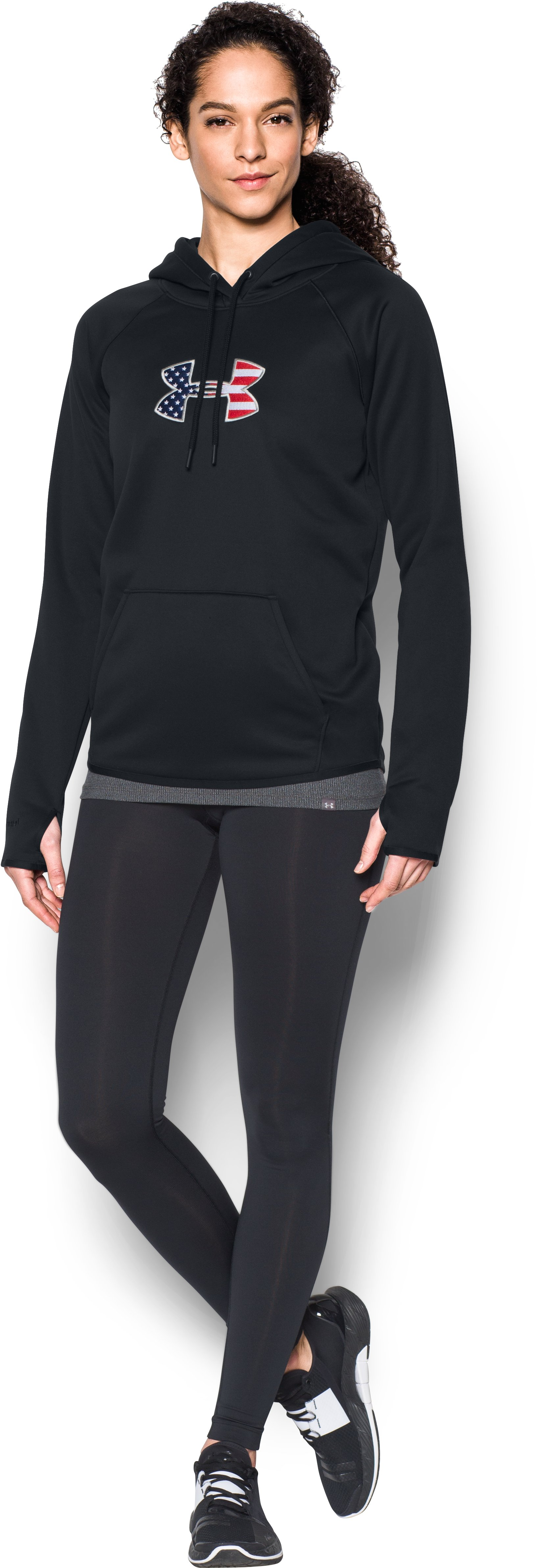 Women's UA Big Flag Logo Hoodie, Black , Front