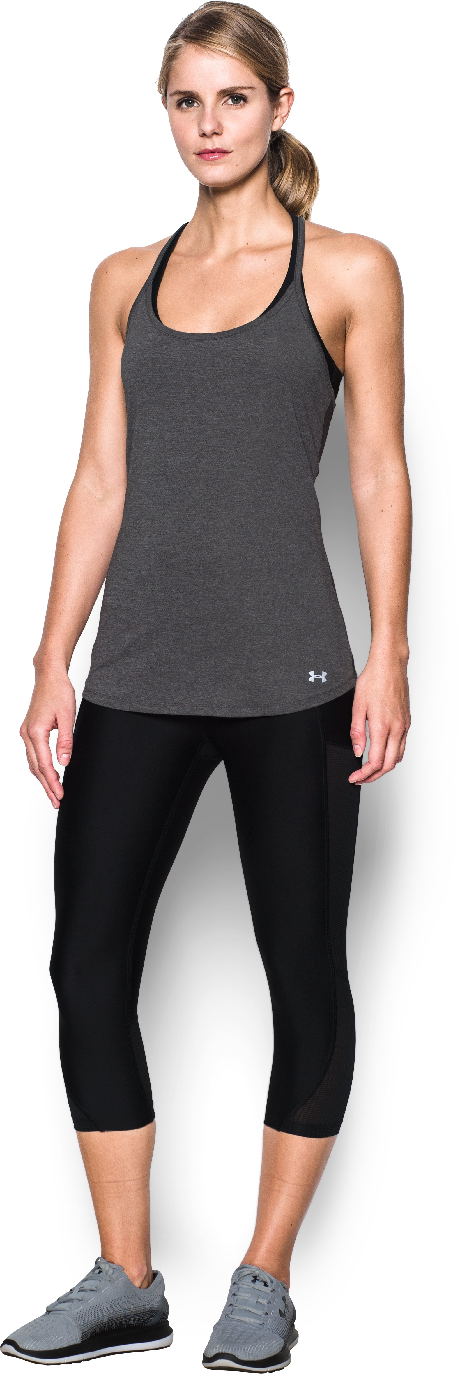 Women's UA Fly-By Racerback Tank, Carbon Heather, Front