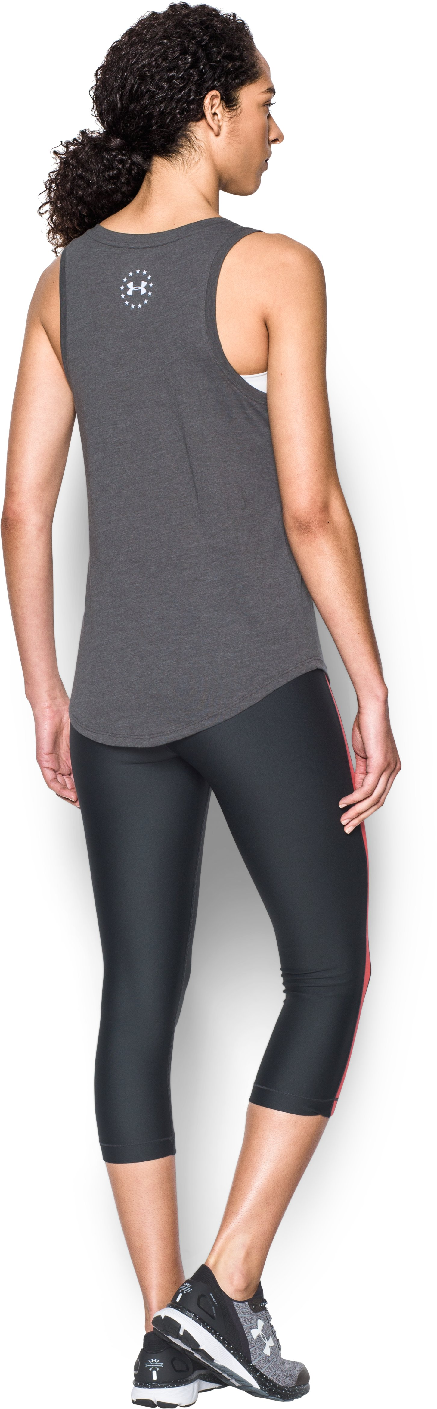 Women's UA Charged Cotton® Tri-Blend Freedom Brave Tank, Carbon Heather, Back