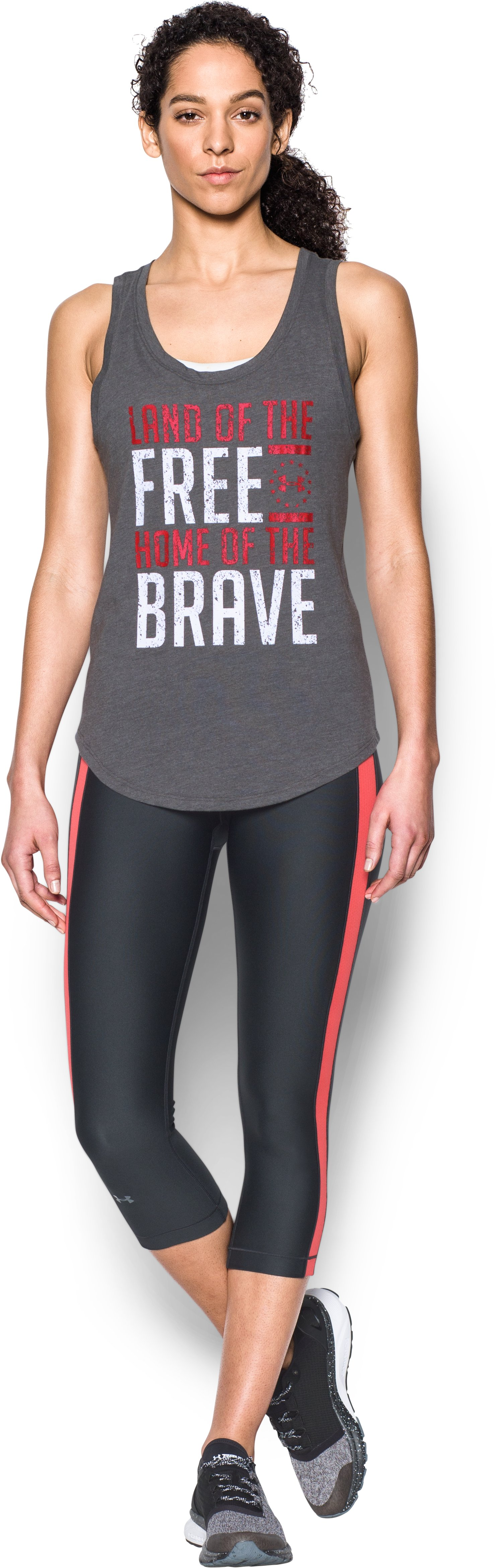 Women's UA Charged Cotton® Tri-Blend Freedom Brave Tank, Carbon Heather, Front