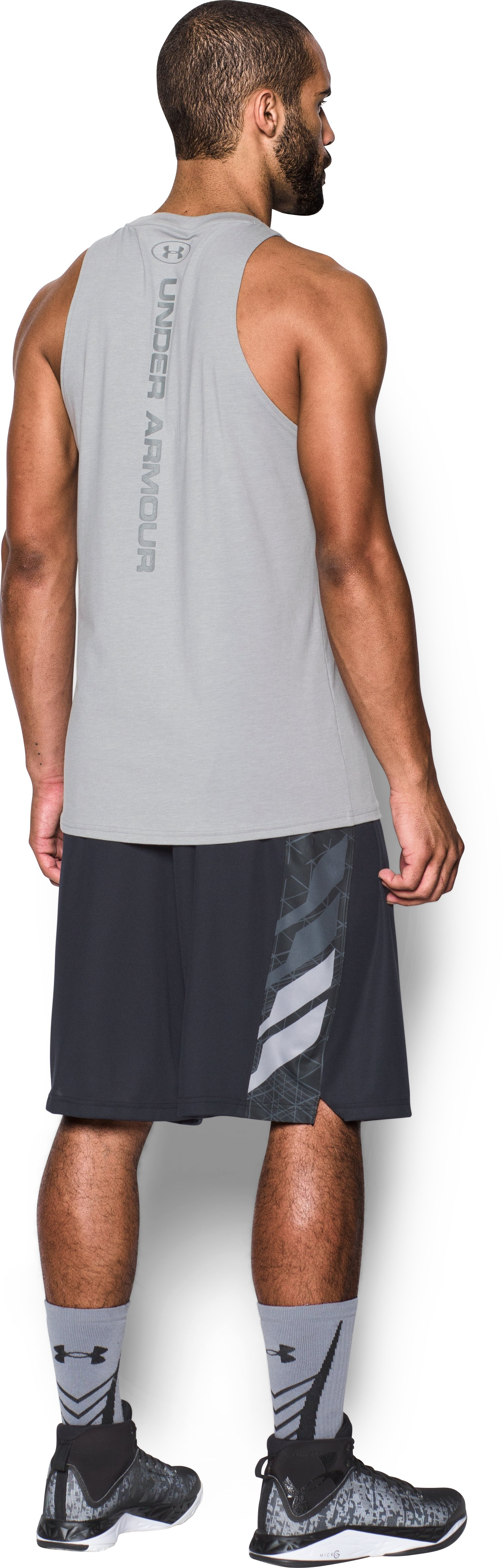 Men's UA Baseline Tank, True Gray Heather, Back