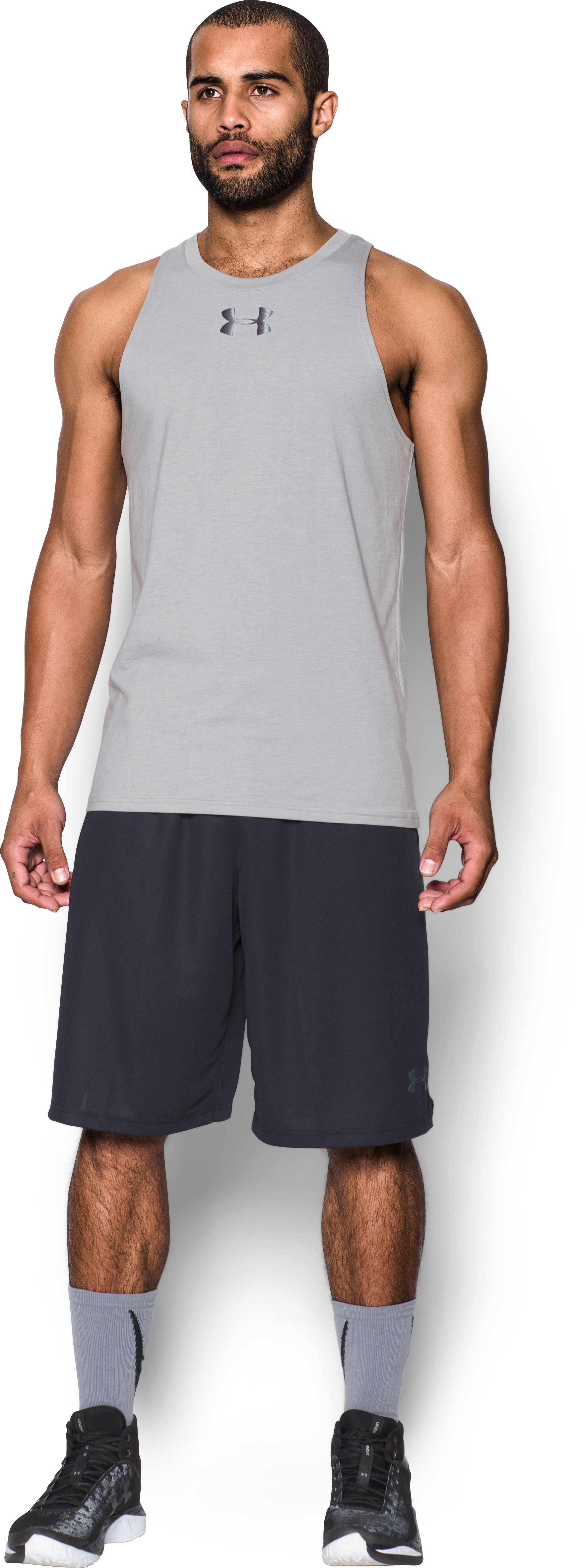 Men's UA Baseline Tank, True Gray Heather, Front