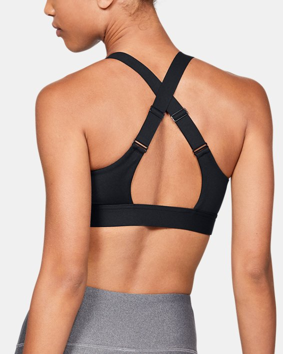 Women's Armour® Eclipse High — Zip Sports Bra, Black, pdpMainDesktop image number 3