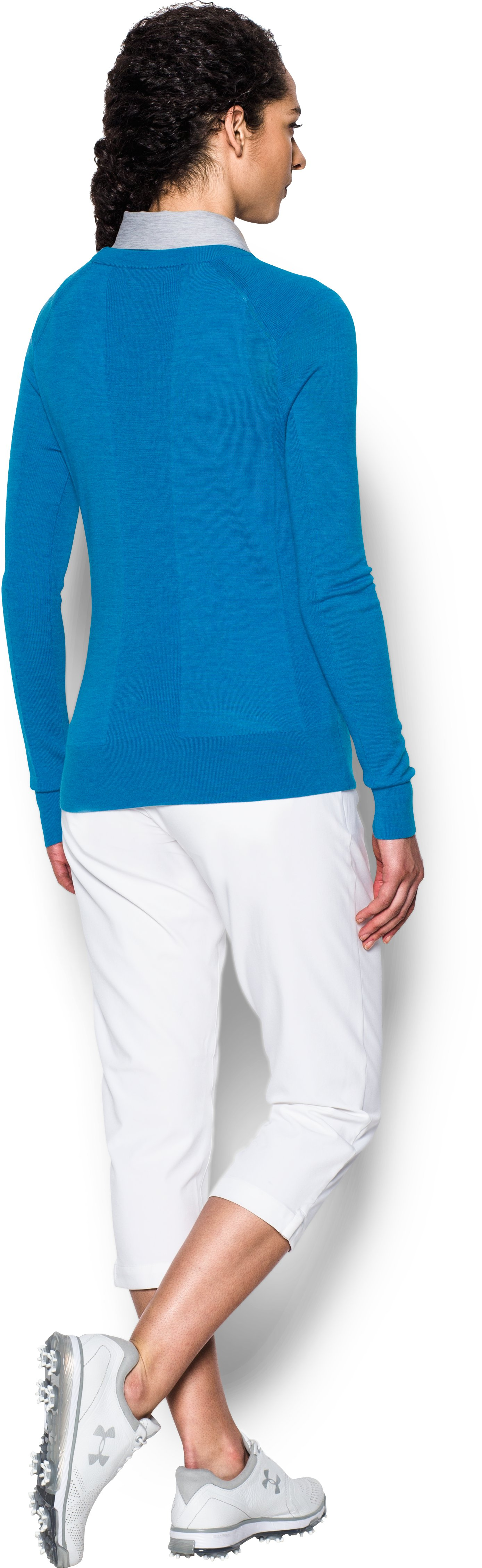 Women's UA Crew Sweater, Mediterranean, Back
