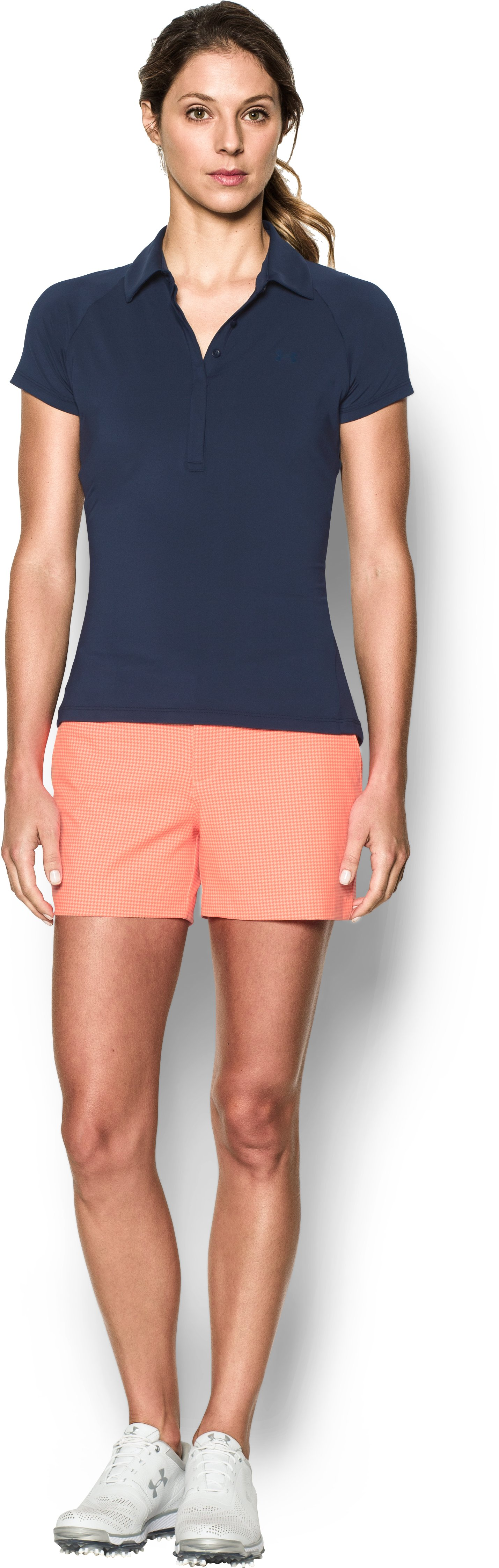 "Women's UA Links Printed 4"" Shorty, PLAYFUL PEACH, Front"