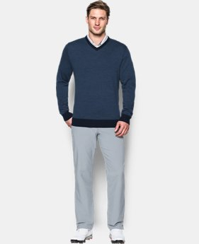 Men's UA Feeder Stripe V-Neck Sweater  1 Color $119.99