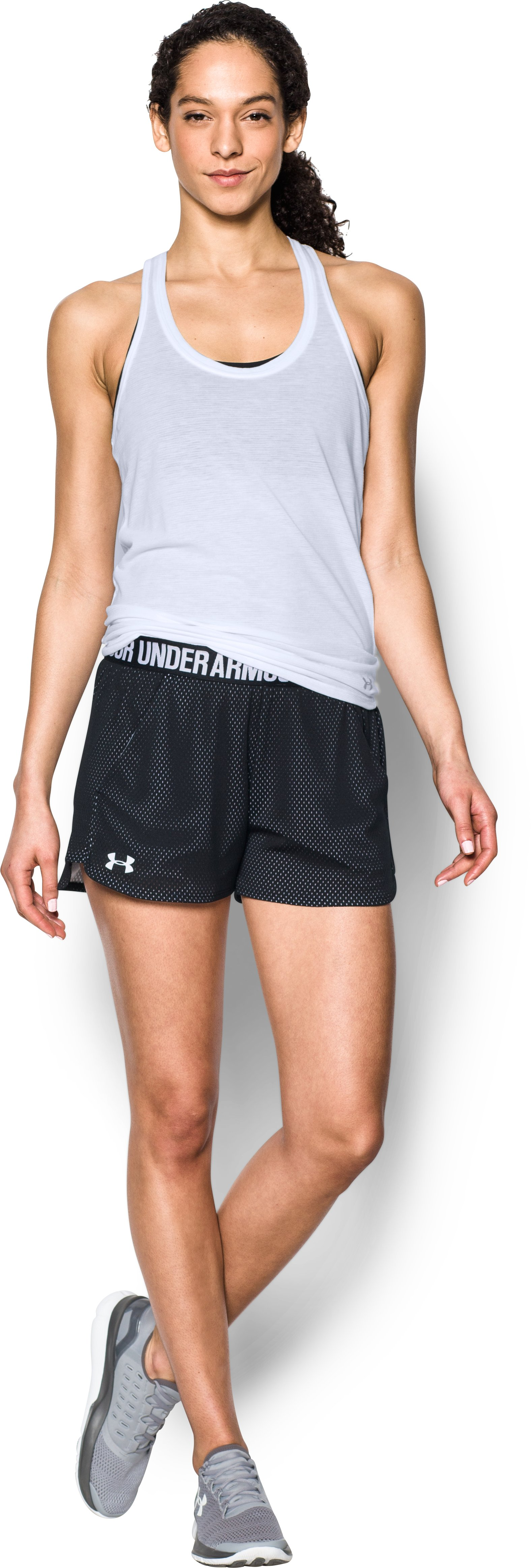 Women's UA Play Up Shorts 2.0 - Mesh, Black , Front