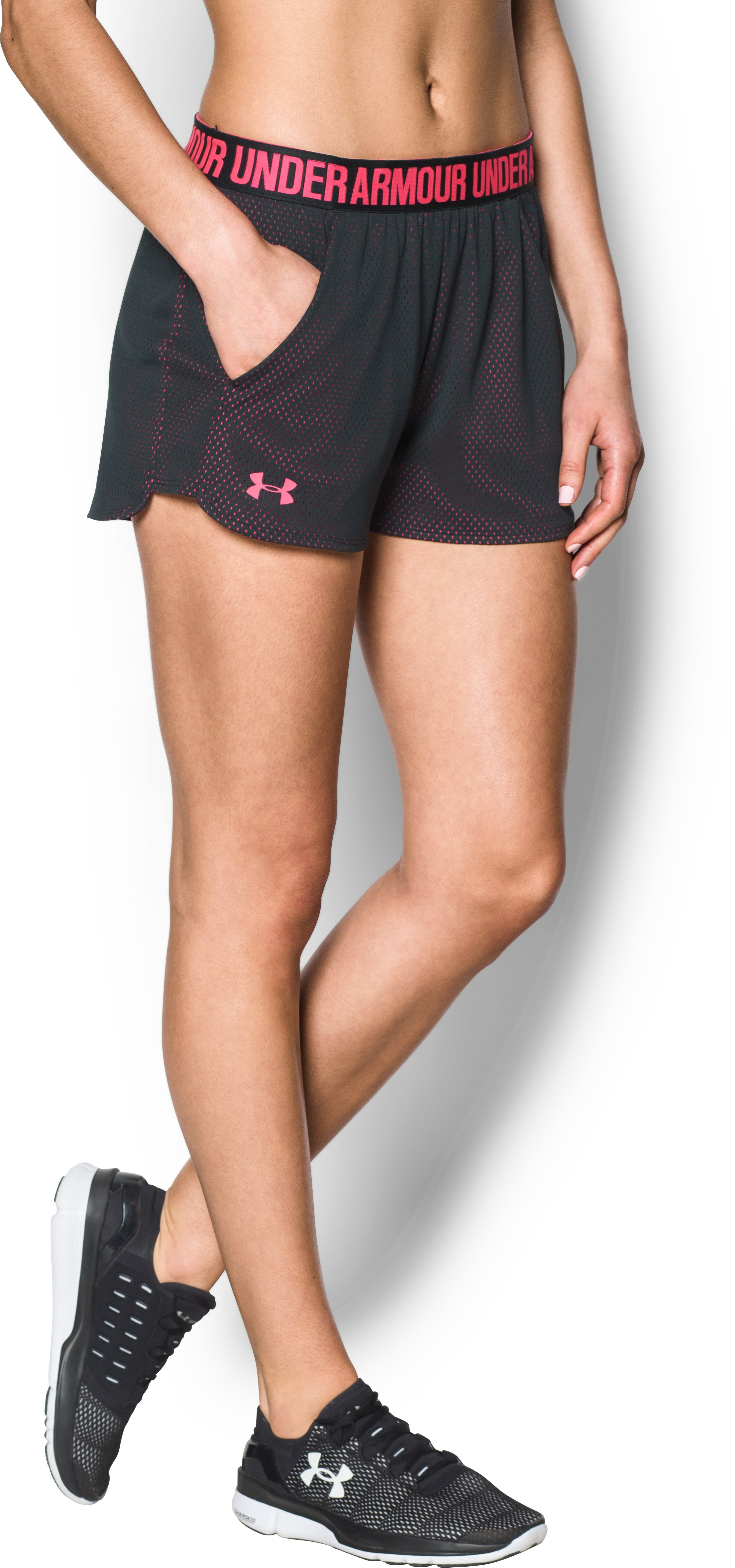 Women's UA Play Up Shorts 2.0 - Mesh, ANTHRACITE, undefined