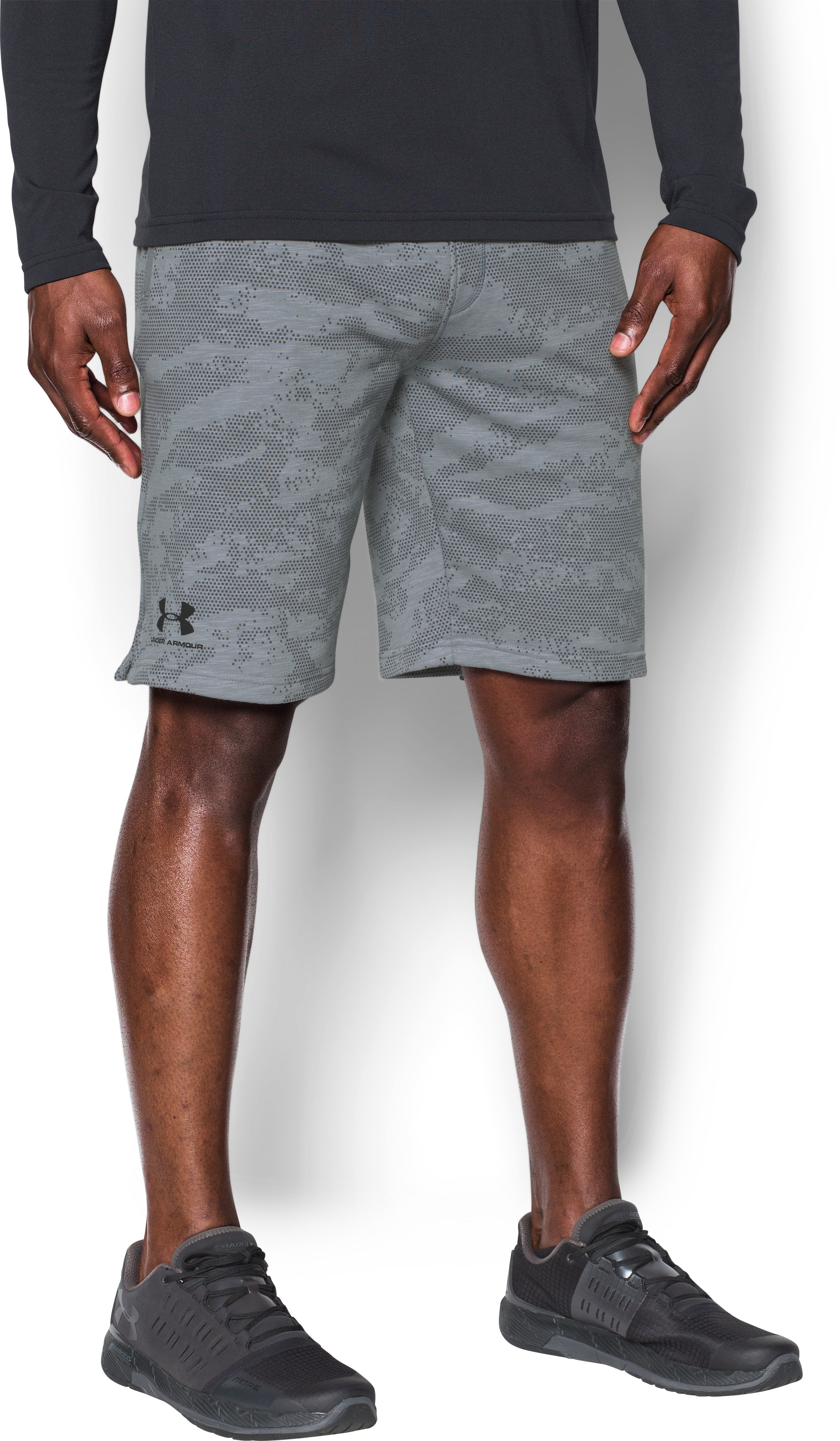 camo shorts for boys Men's UA Sportstyle Fleece Camo Shorts Real comfortable,  I like the pouch inside the pocket,  my cell Phone fits perfectly,  so when you are sitting down,  my phone doesn't fall out of my pocket....They are high quality material and are an average fit, not too loose and not too tight....Comfortable and great looking shorts