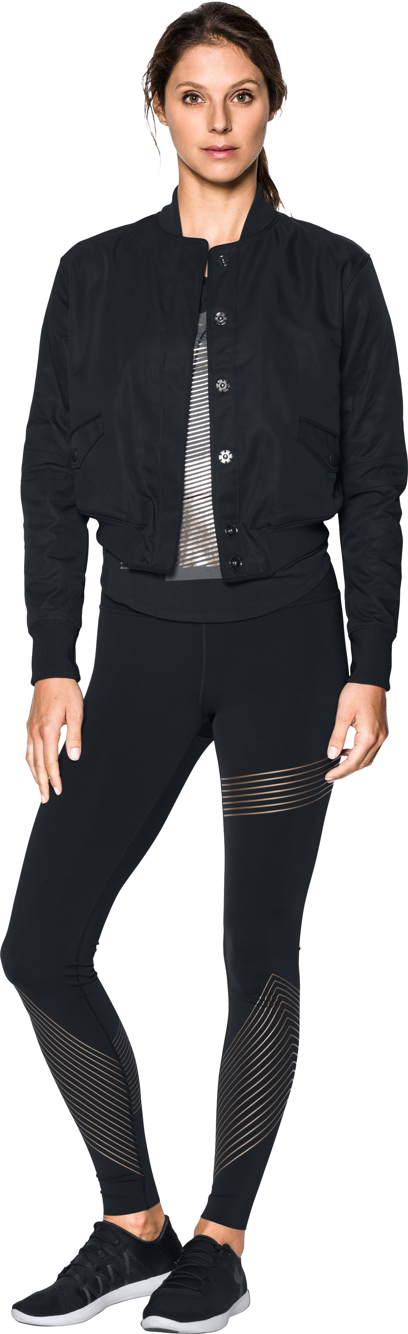 Women's UA Opening Night Bomber Jacket, Black , Front