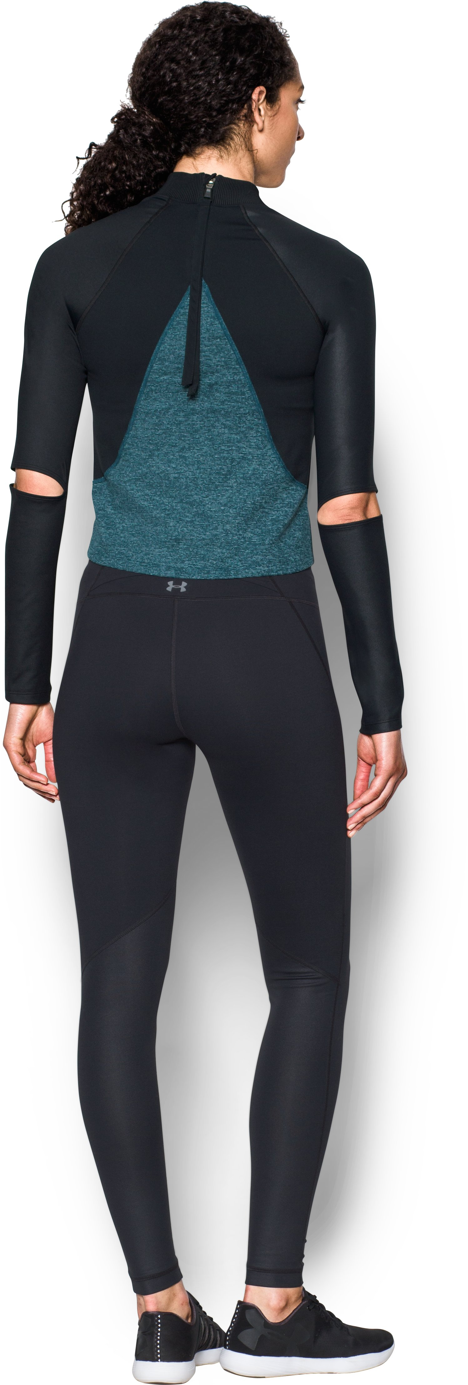 Women's UA Rehearsal Long Sleeve, NOVA TEAL, Back