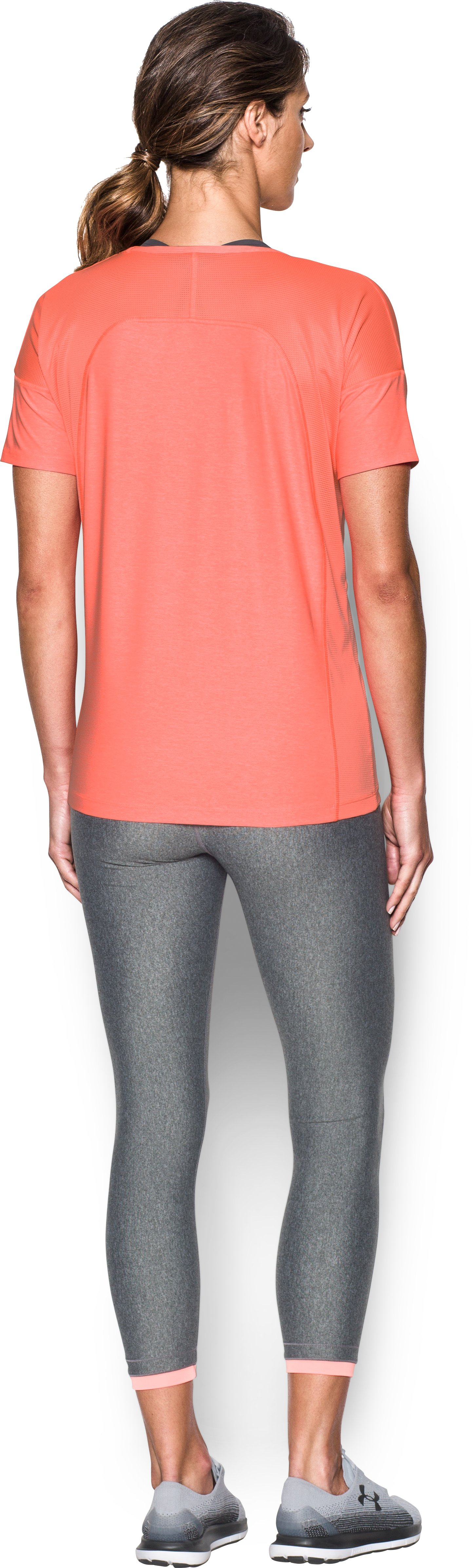 Women's UA Got Game Twist Short Sleeve, LONDON ORANGE, Back