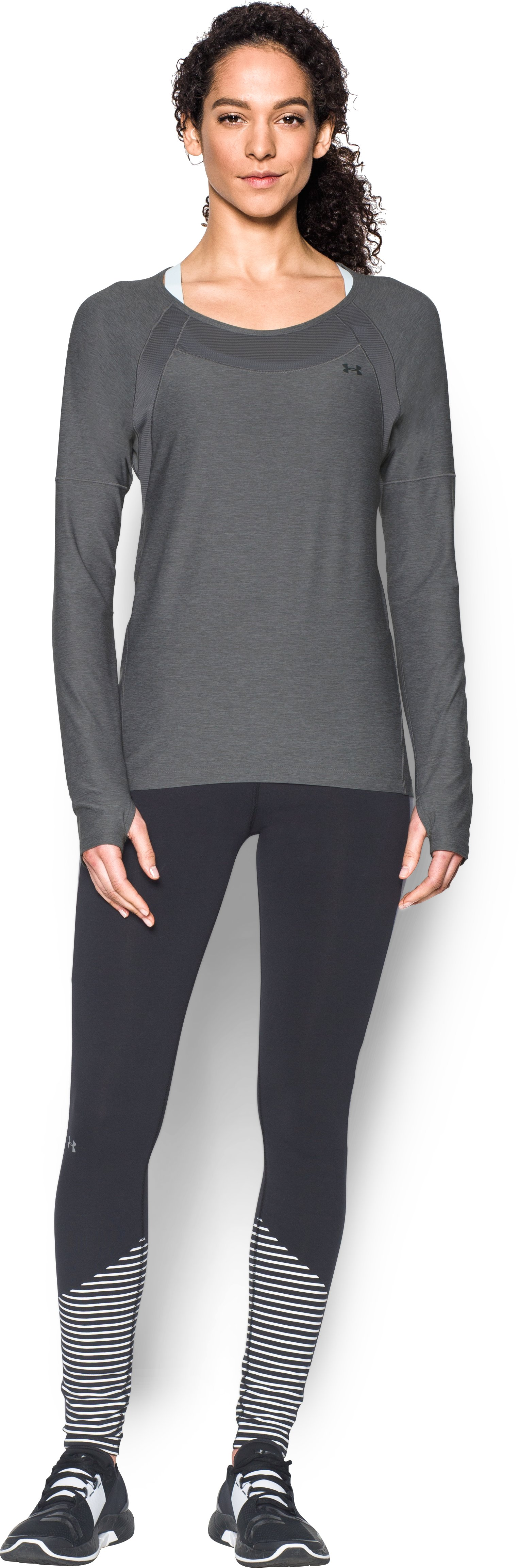 Women's UA Got Game Twist Long Sleeve, Graphite, Front