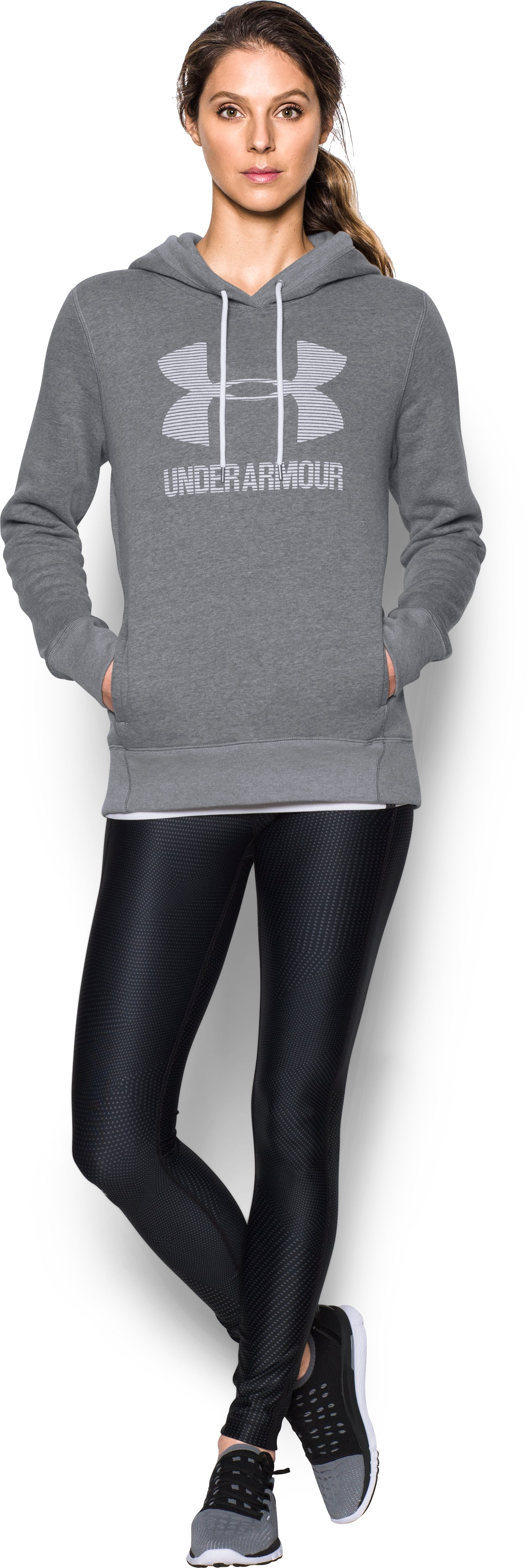 Women's UA Favorite Fleece Sportstyle Hoodie, GRAPHITE LIGHT HEATHER, Front