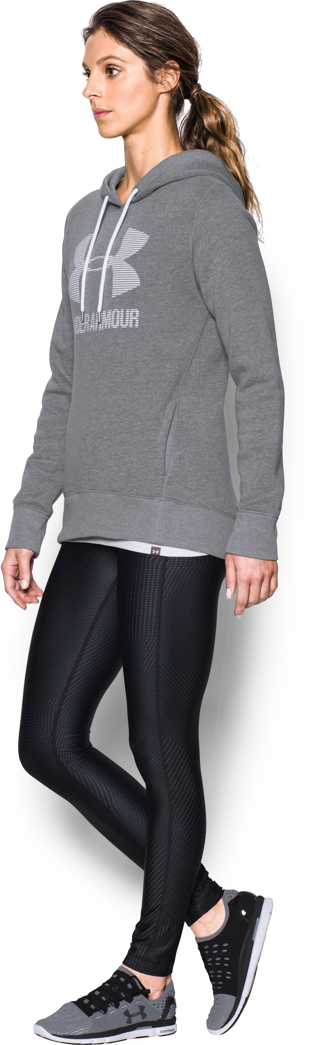 Women's UA Favorite Fleece Sportstyle Hoodie, GRAPHITE LIGHT HEATHER, undefined