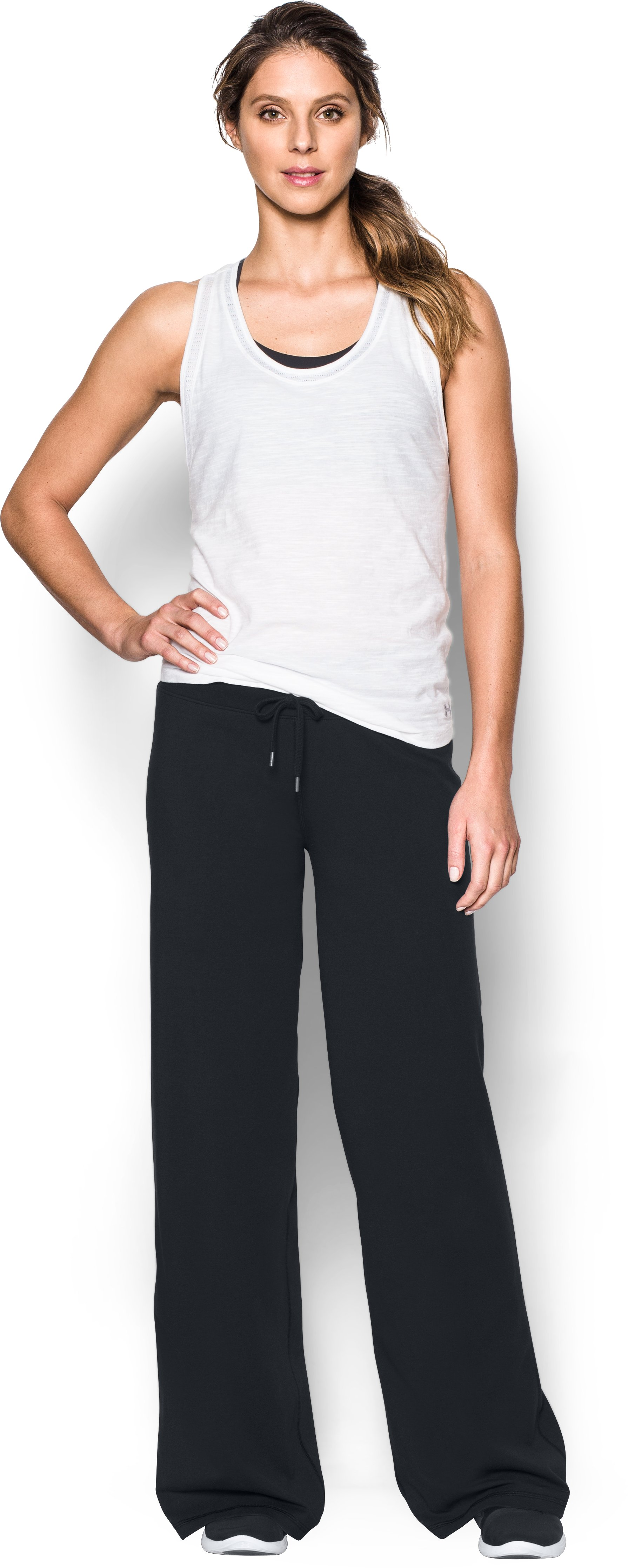 Women's UA Favorite Wide Leg Pants, Black , Front