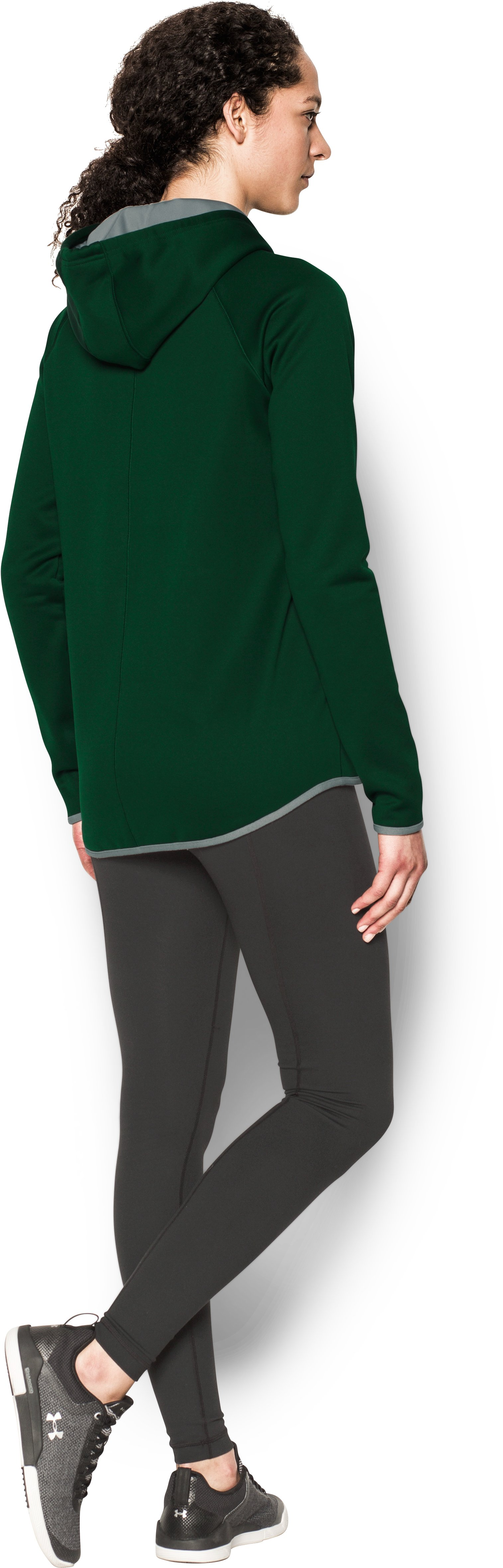 Women's  UA Double Threat Armour Fleece® Hoodie, Forest Green, Back