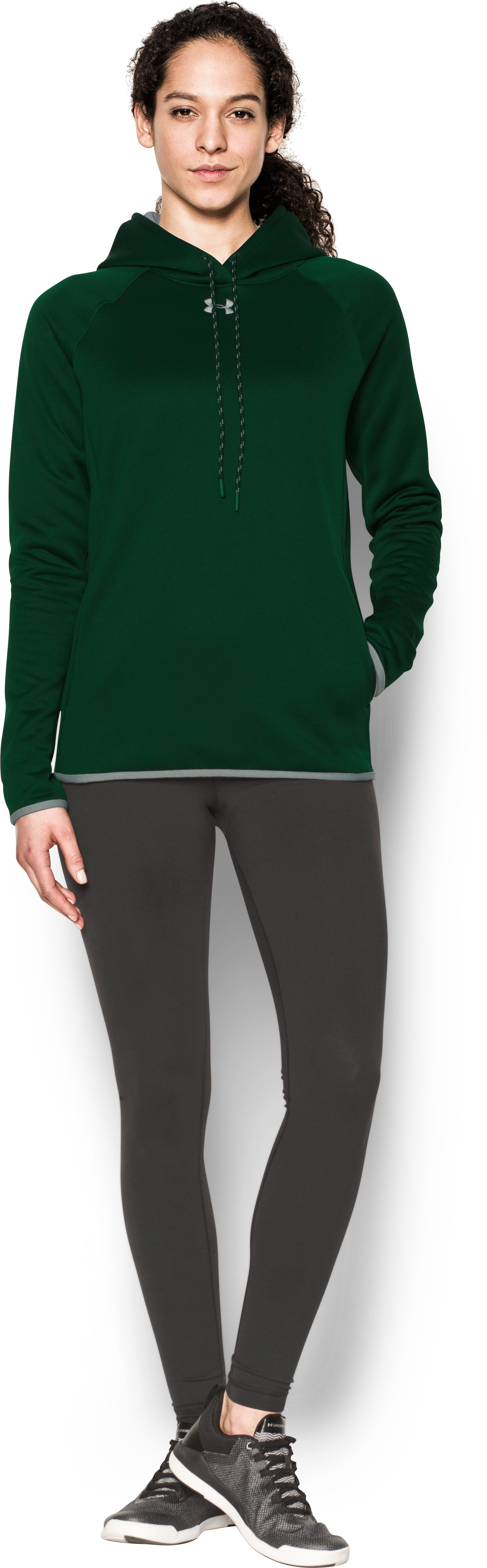 Women's UA Double Threat Armour® Fleece Hoodie, Forest Green, Front
