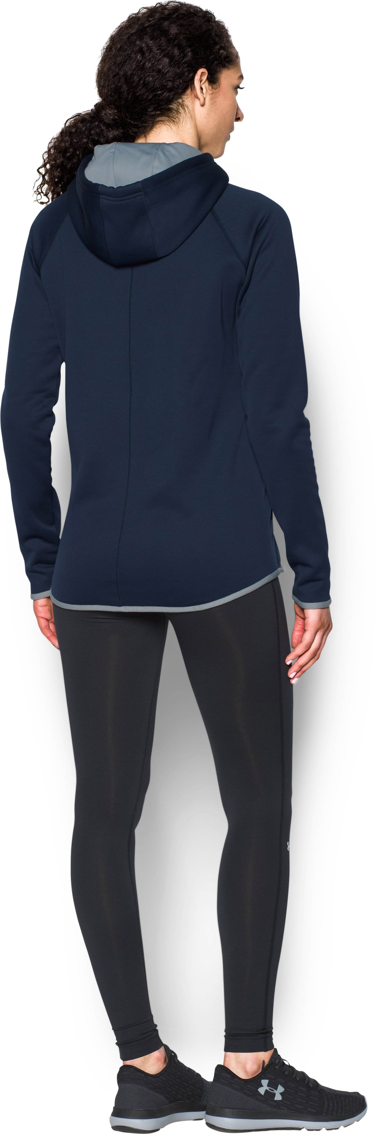 Women's  UA Double Threat Armour Fleece® Hoodie, Midnight Navy, Back