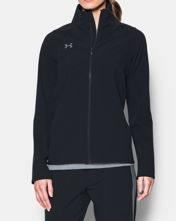 Women's UA Squad Woven Full Zip Jacket, Black, pdpMainDesktop image number 0