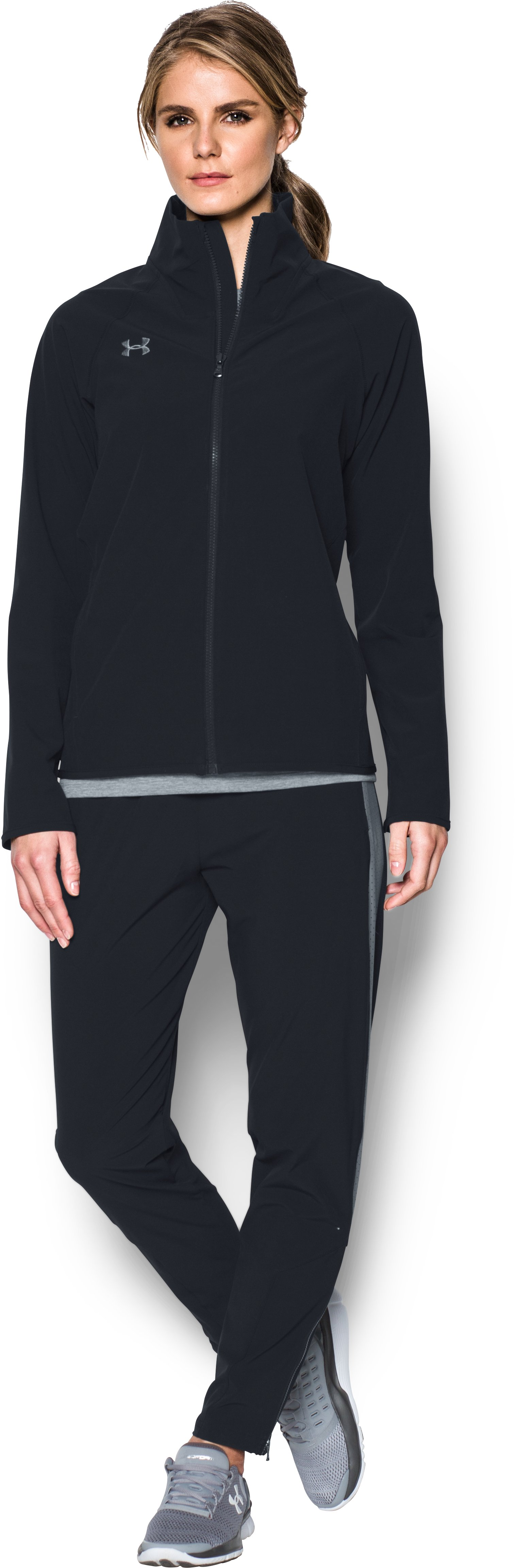 Women's UA Squad Woven Full Zip Jacket, Black , Front