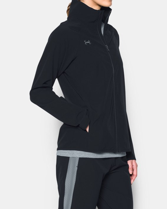Women's UA Squad Woven Full Zip Jacket, Black, pdpMainDesktop image number 1