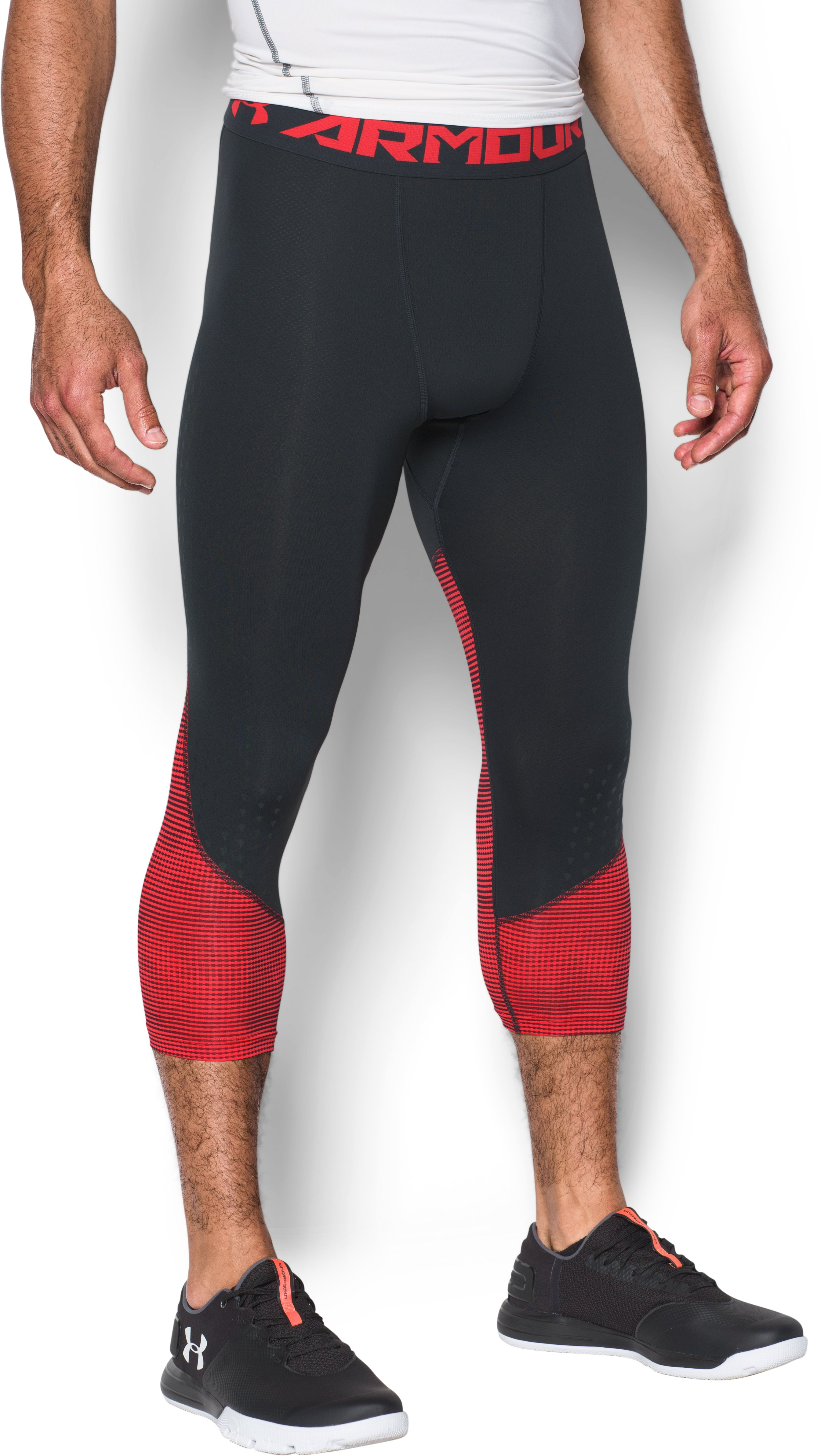 Men's HeatGear® CoolSwitch Armour Compression ¾ Leggings, ANTHRACITE,
