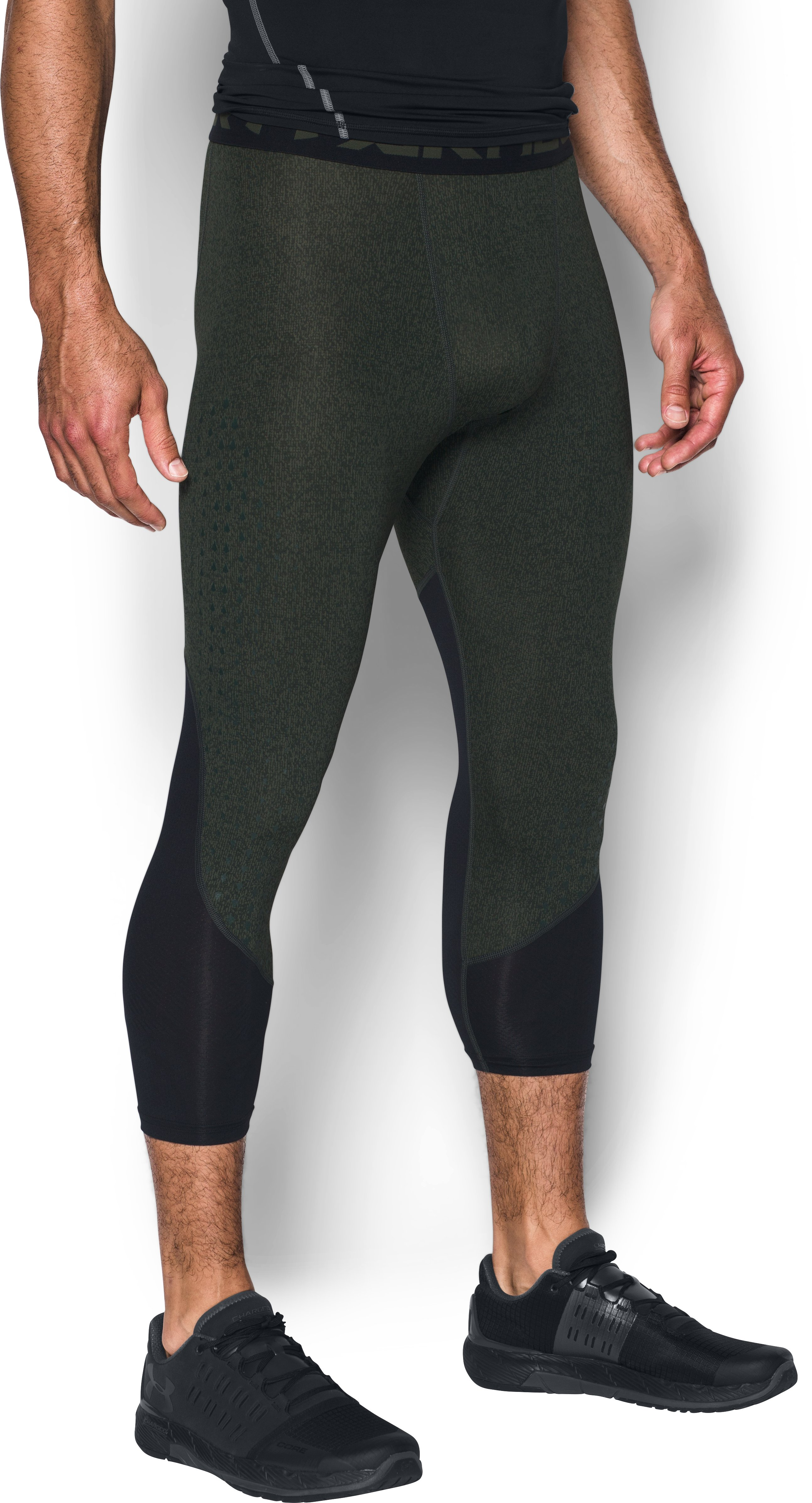 Men's HeatGear® CoolSwitch Armour Compression ¾ Leggings, DOWNTOWN GREEN, undefined