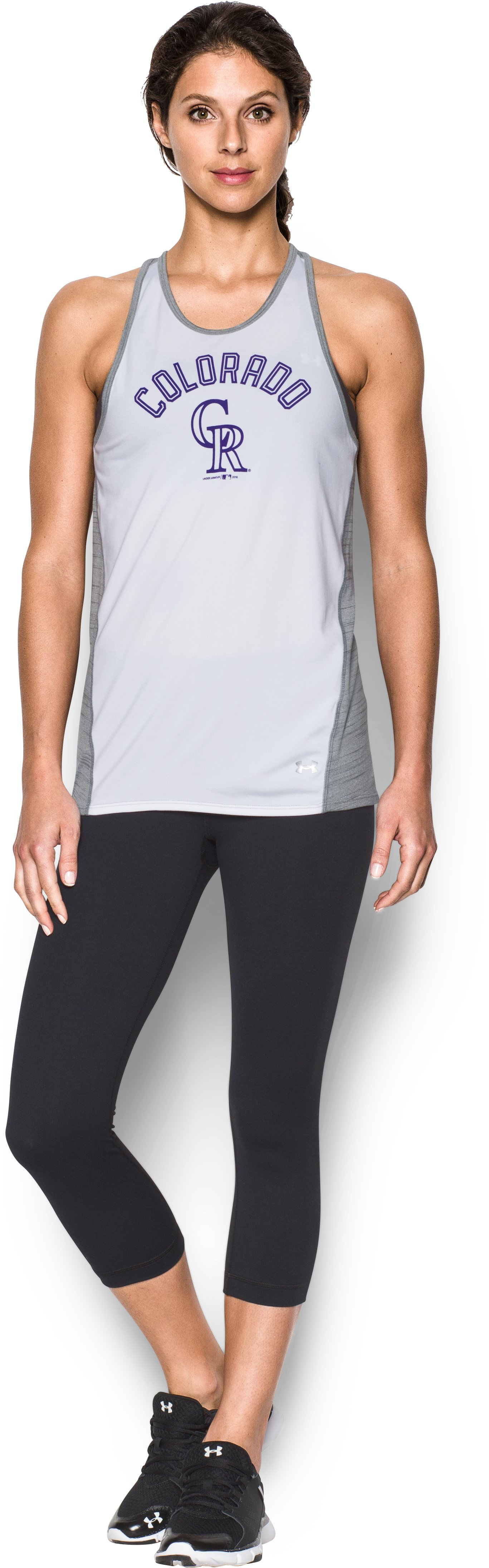 Women's Colorado Rockies UA Tech™ Tank, White, Front