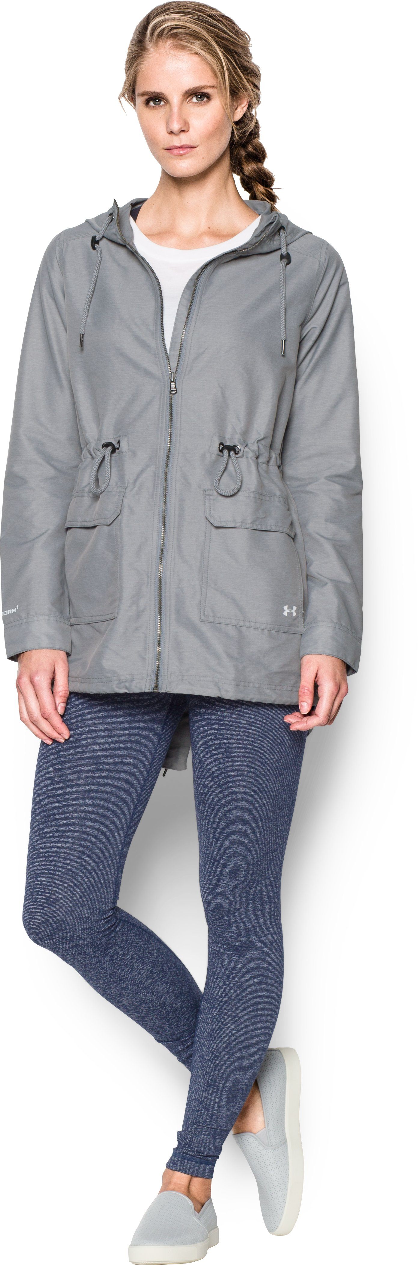 Women's Twill Rain Jacket, Steel, Front