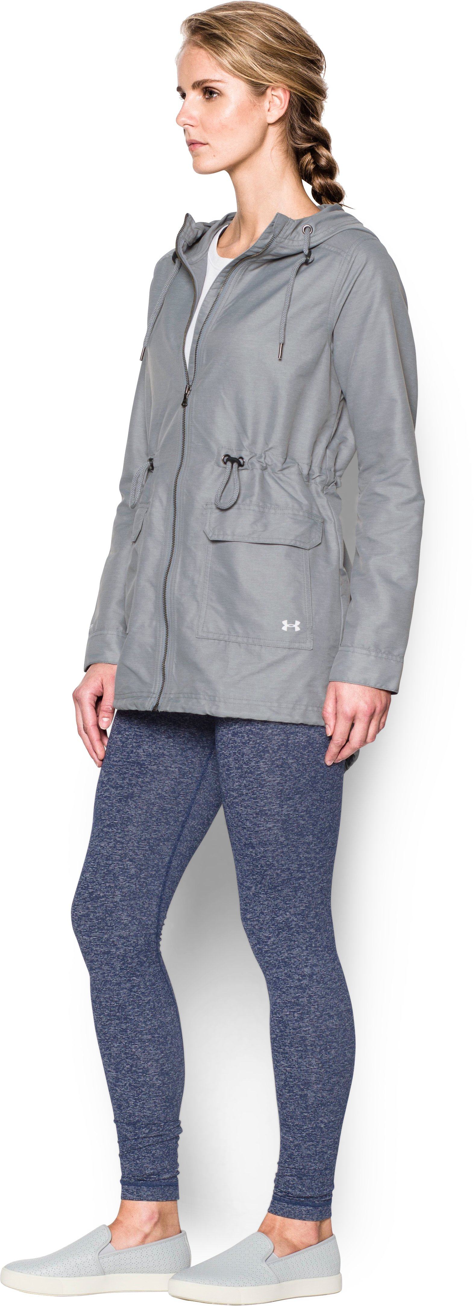 Women's Twill Rain Jacket, Steel