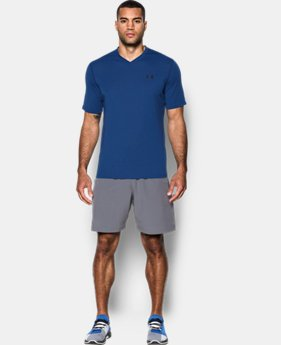 New to Outlet Men's UA Threadborne Striped V-Neck T-Shirt LIMITED TIME OFFER 1 Color $20.99